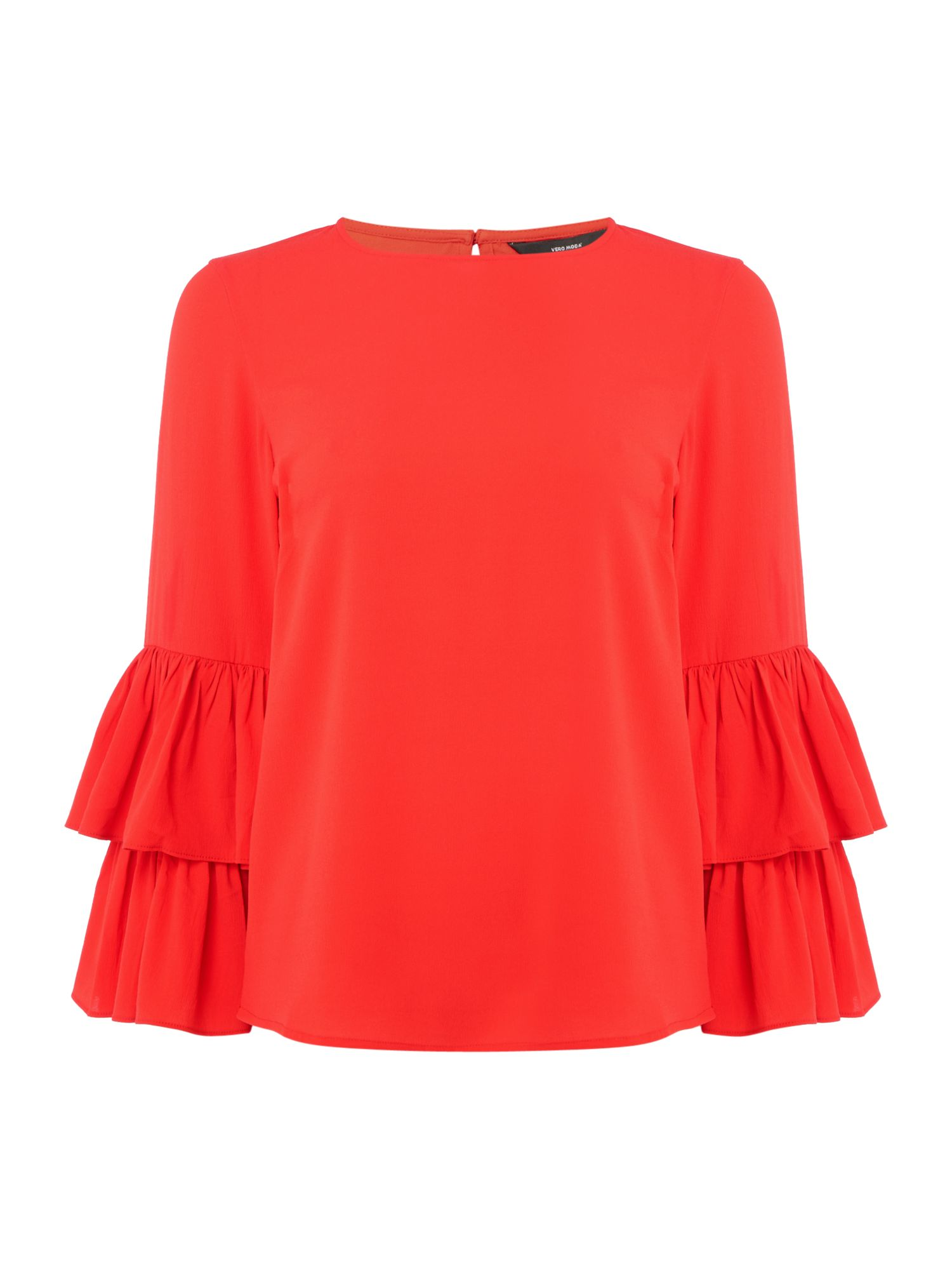 Vero Moda Long frill sleeve red top, Red
