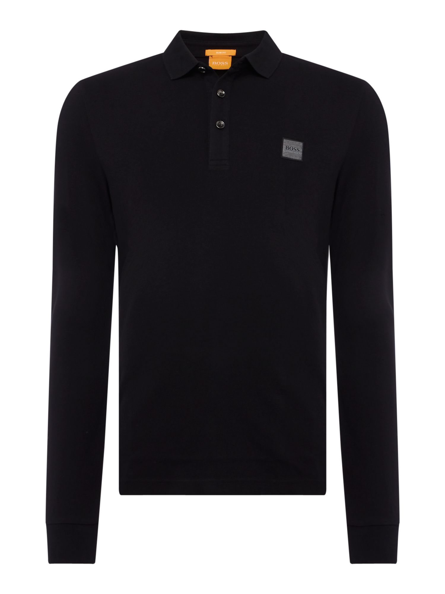 Men's Hugo Boss Paulyn long sleeve slim fit polo shirt, Black
