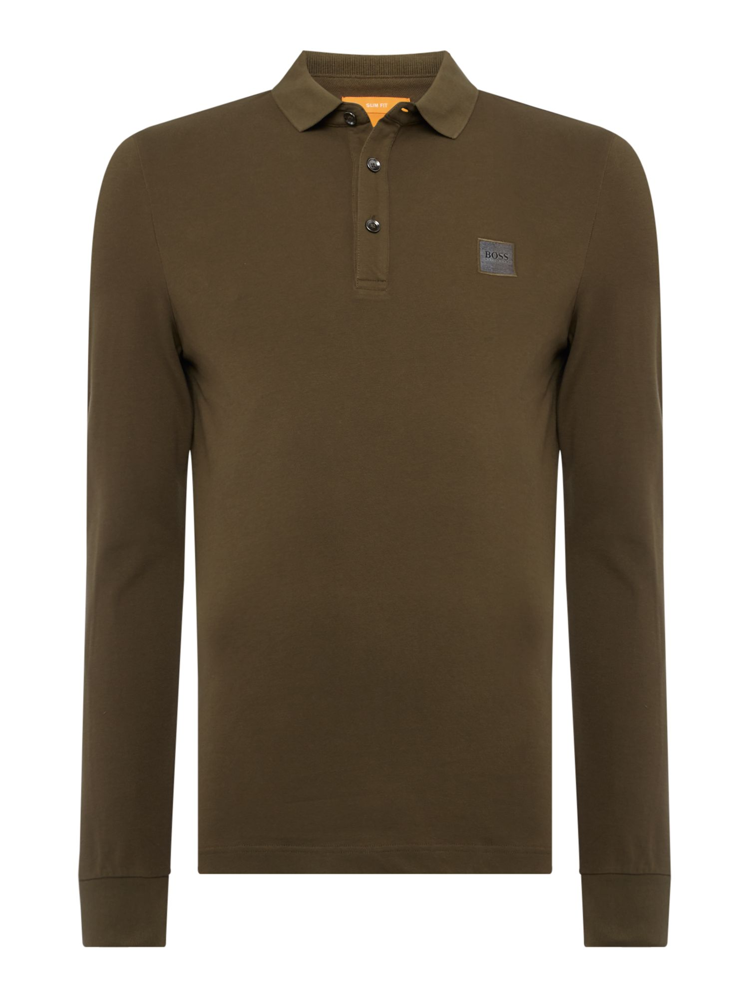 Men's Hugo Boss Paulyn long sleeve slim fit polo shirt, Khaki