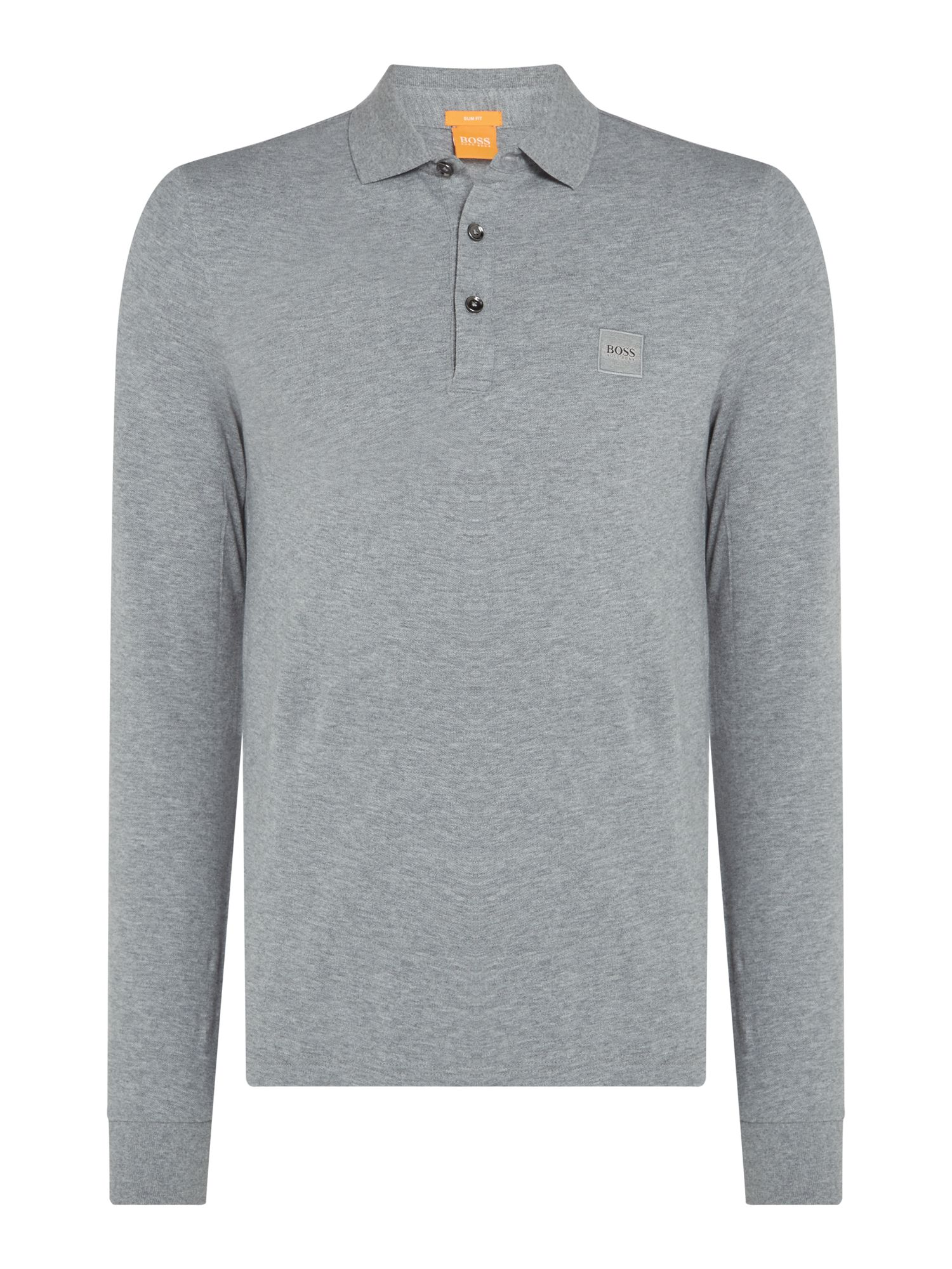 Men's Hugo Boss Paulyn long sleeve slim fit polo shirt, Grey Marl