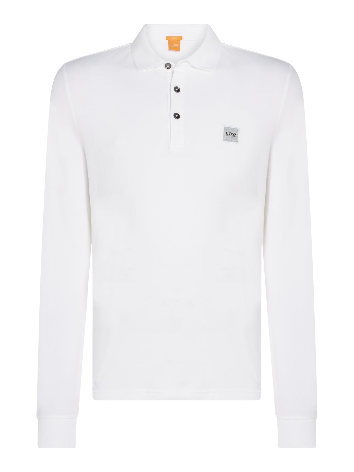 Men's Hugo Boss Paulyn long sleeve slim fit polo shirt, White