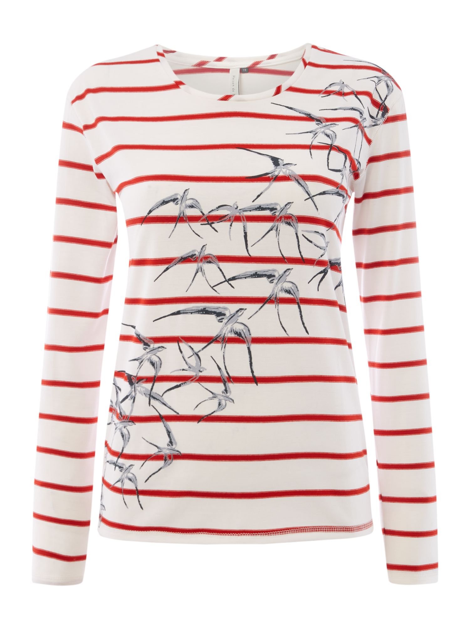 Maison De Nimes Swallow Printed Birch Stripe Top, Cream