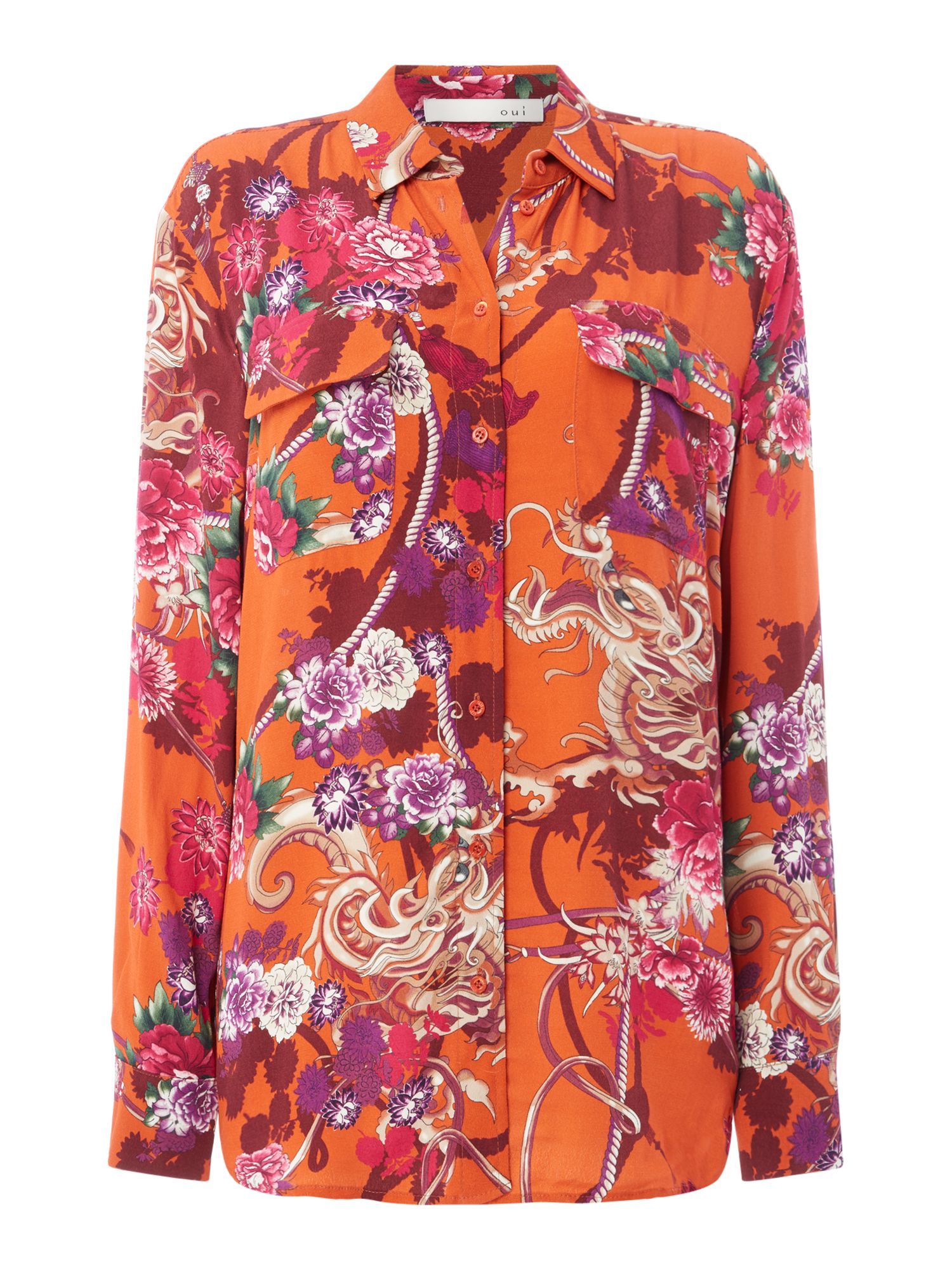 Oui Floral shirt with pockets, Multi-Coloured