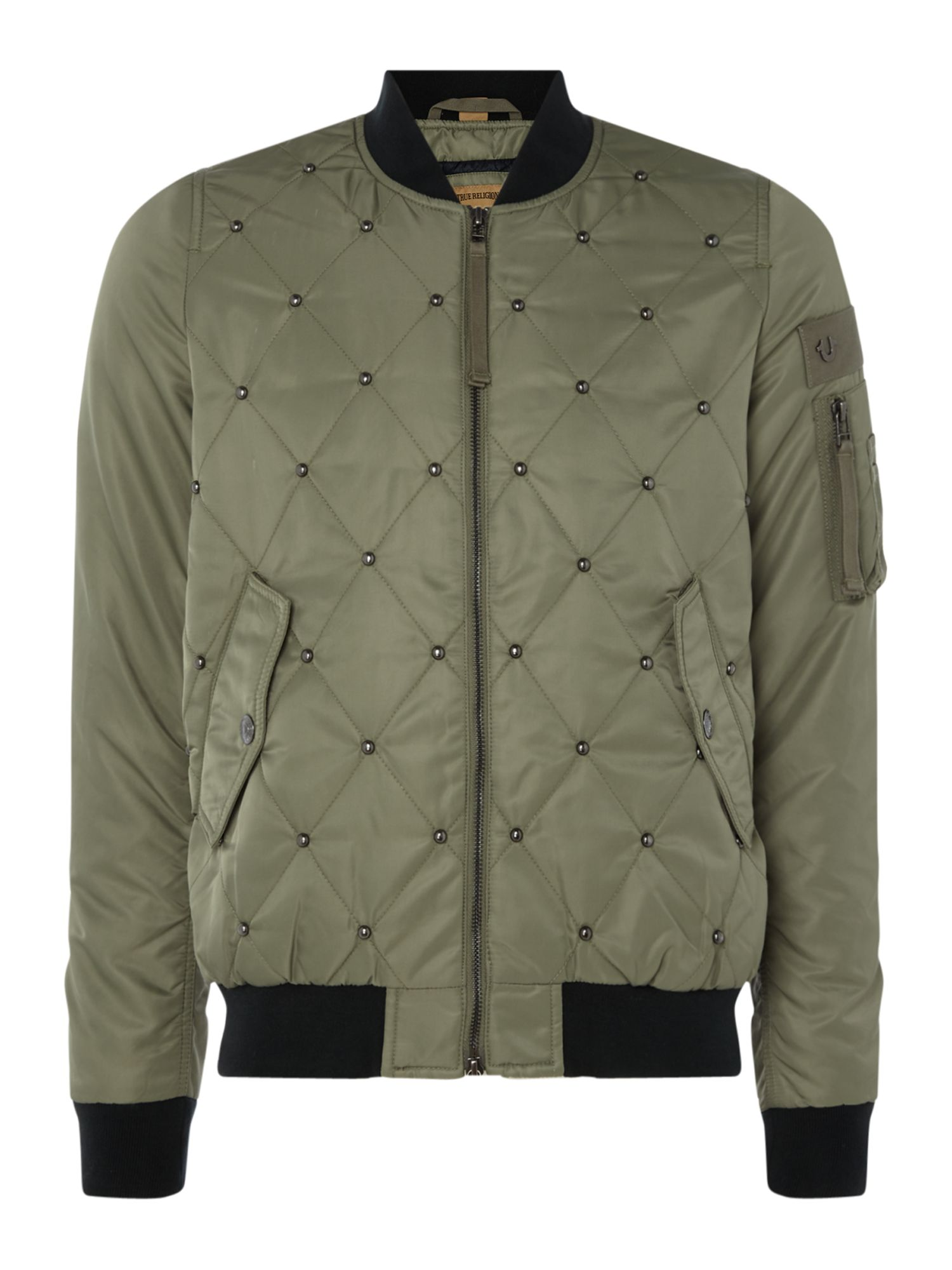True Religion Padded Bomber Jacket With Quilting Detail, Khaki