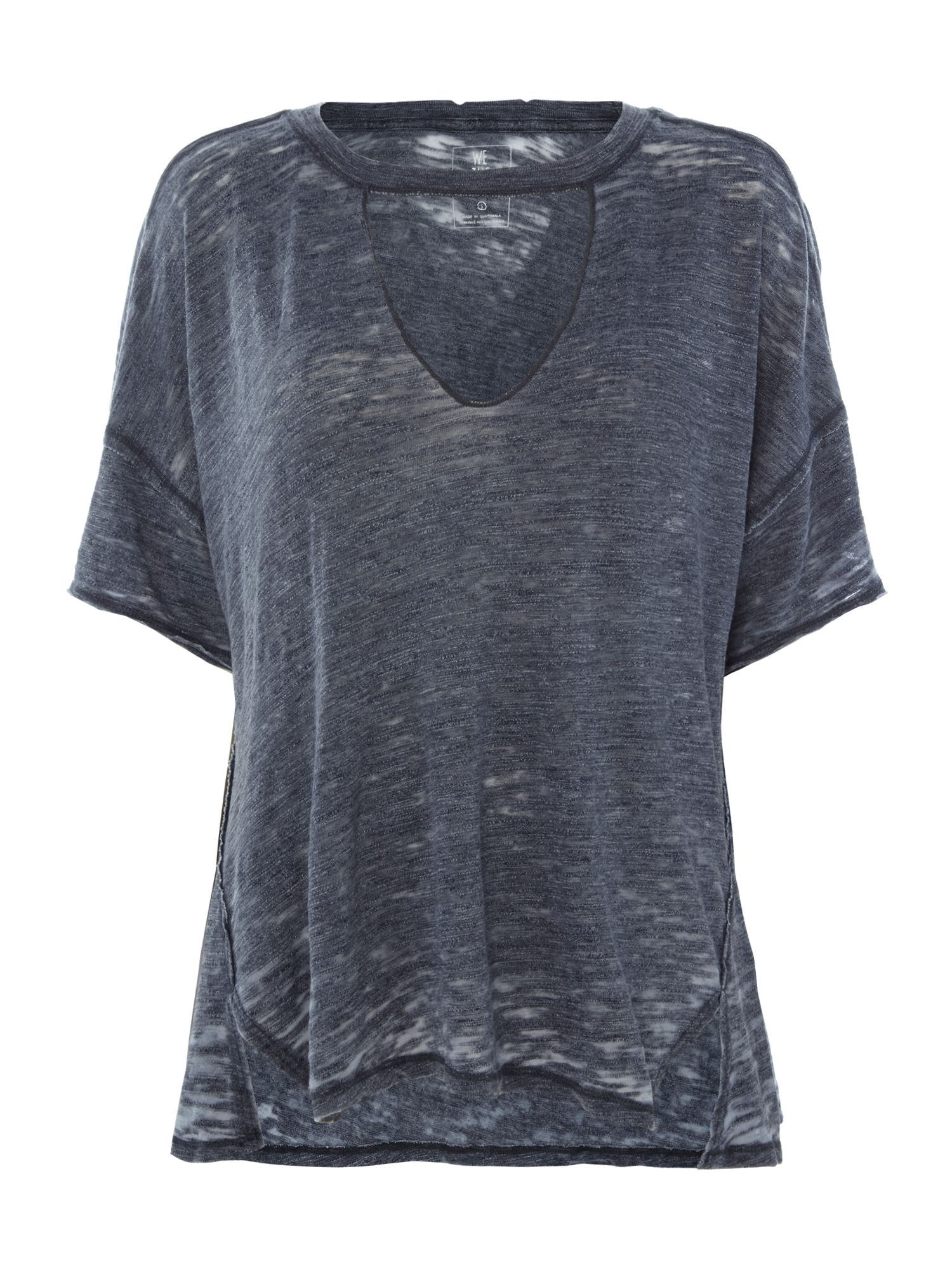 Free People Jordan T-Shirt With Deep V-Neck, Blue
