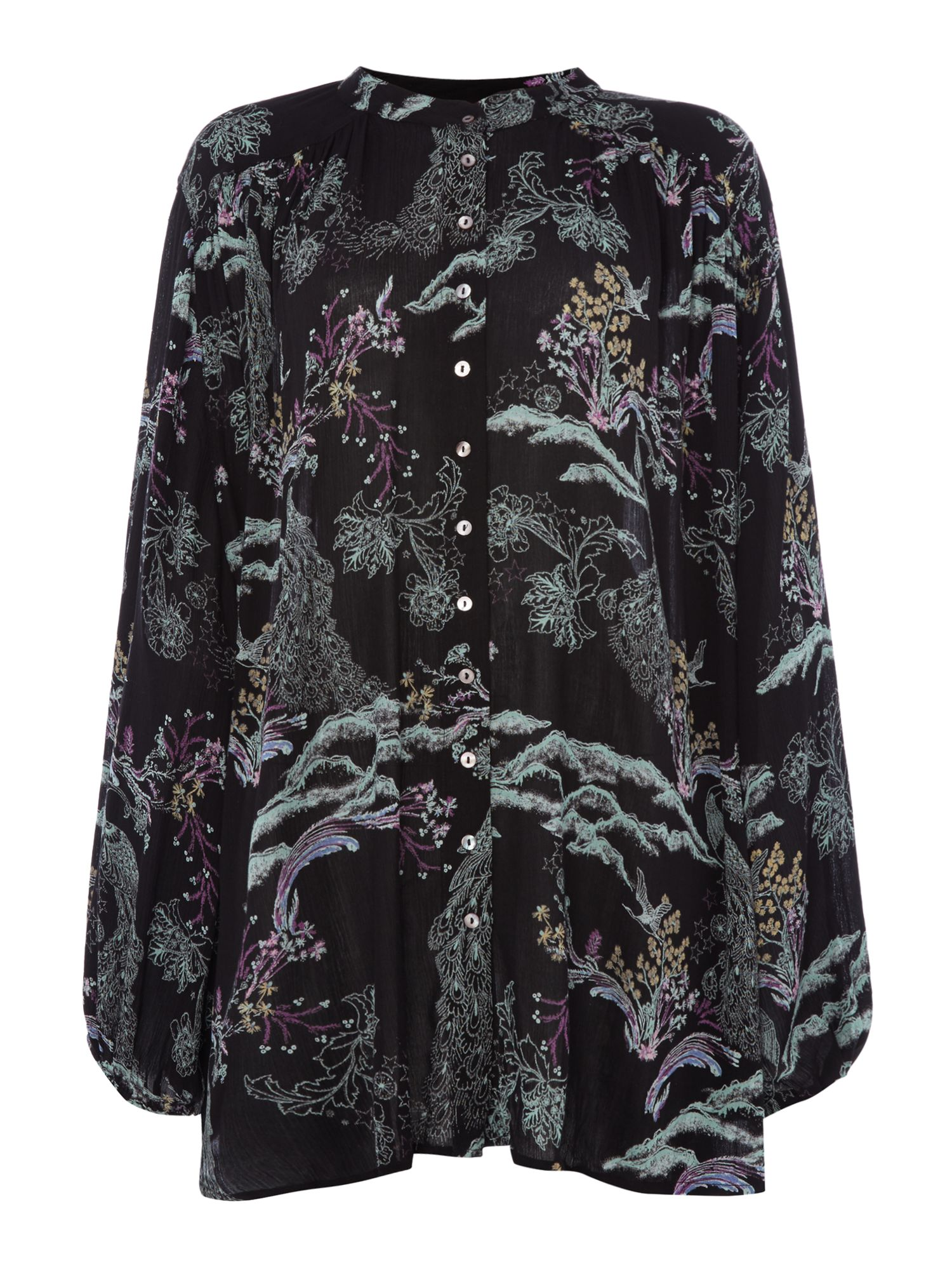 Free People Oversized Shirt With Metalic Bloom Print, Black