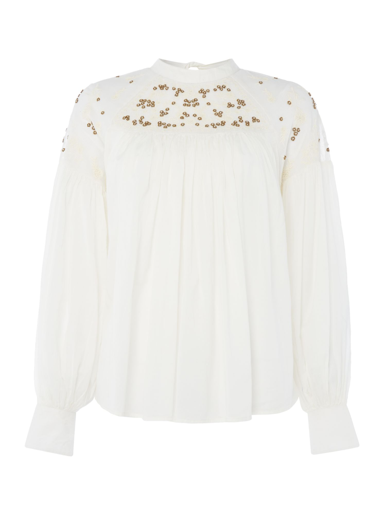 Free People Have It My Way Blouse With Embroidery, White