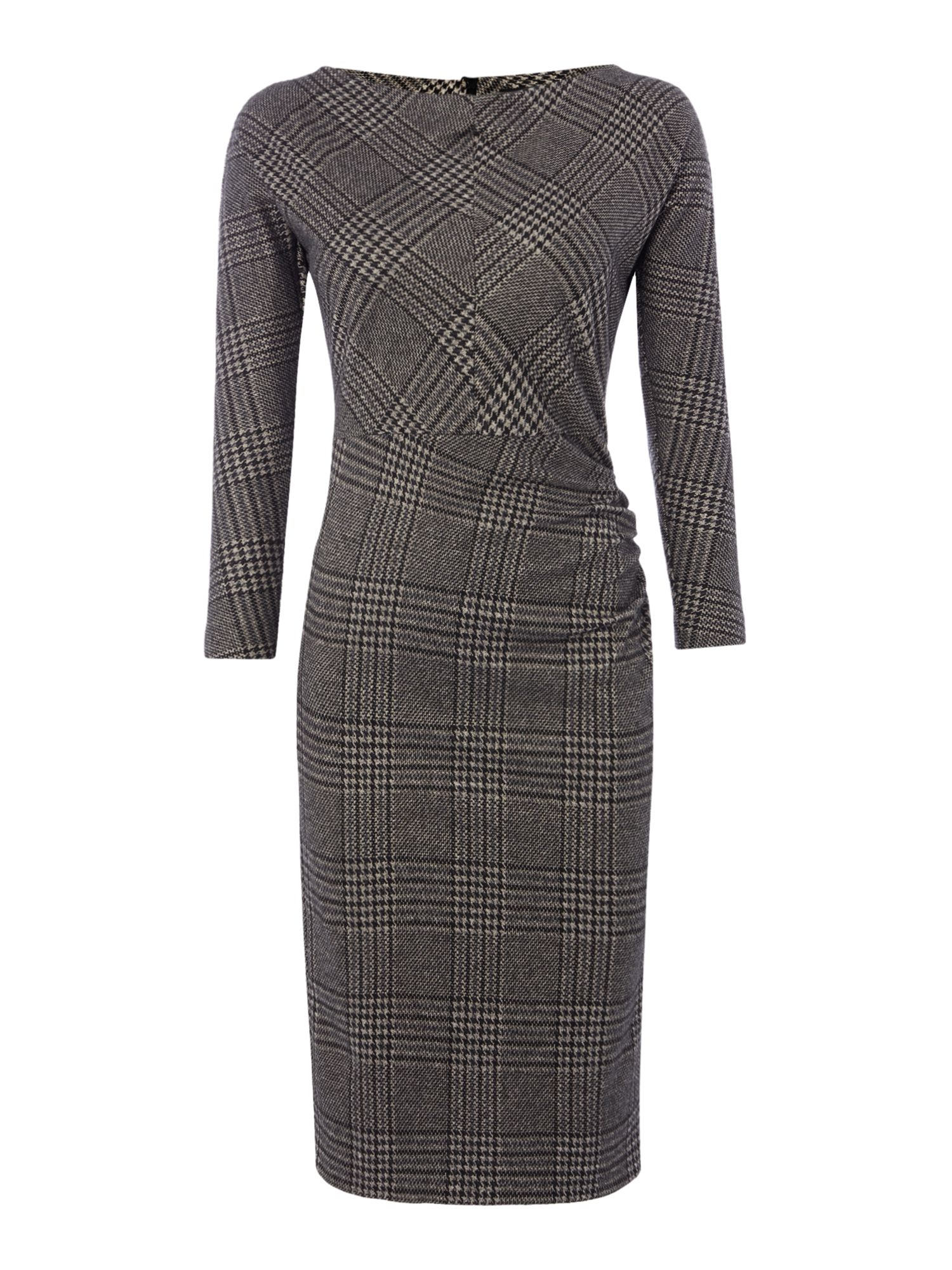 Max Mara Weekend Tago ruched longsleeve tweed dress, Black