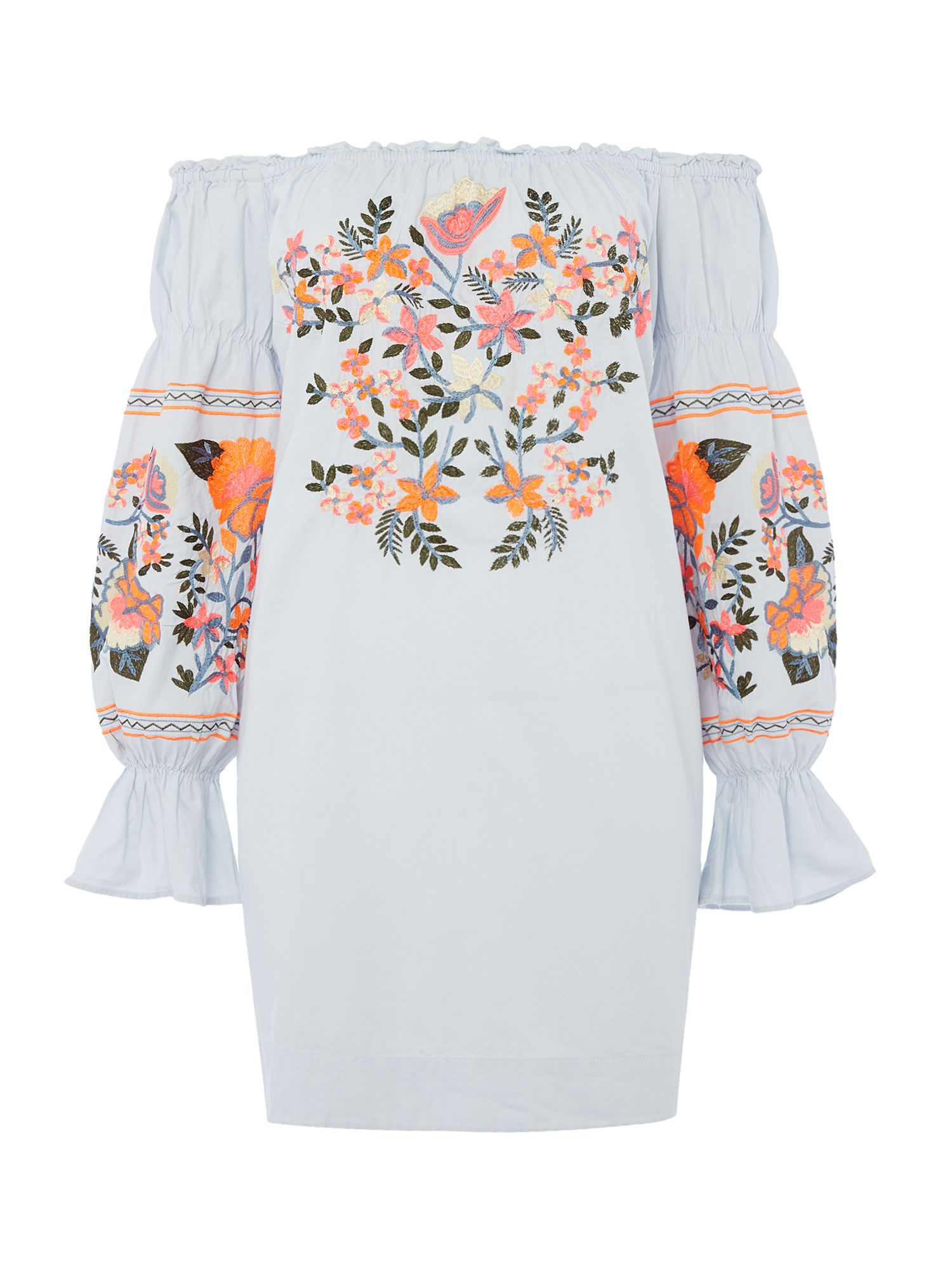 Free People Fleur De Jour Bardot Dress With Embroidery, Blue