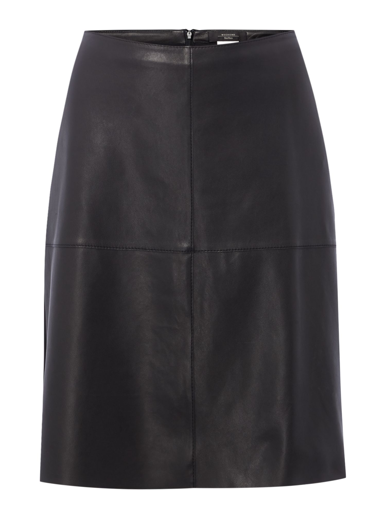 Max Mara Weekend Pio leather pannel a line skirt, Black