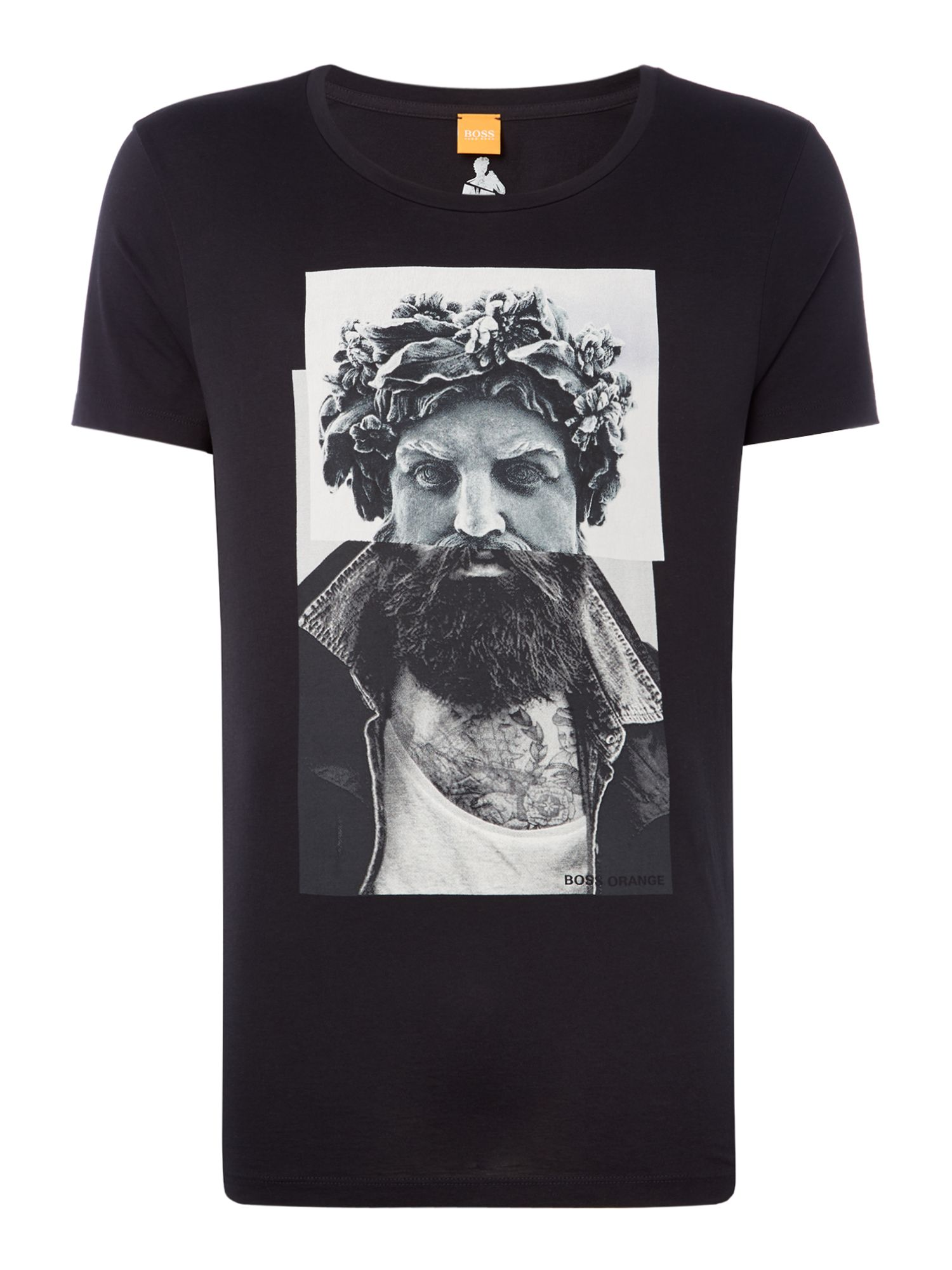 Men's Hugo Boss Taxable 2 bearded statue graphic t-shirt, Black