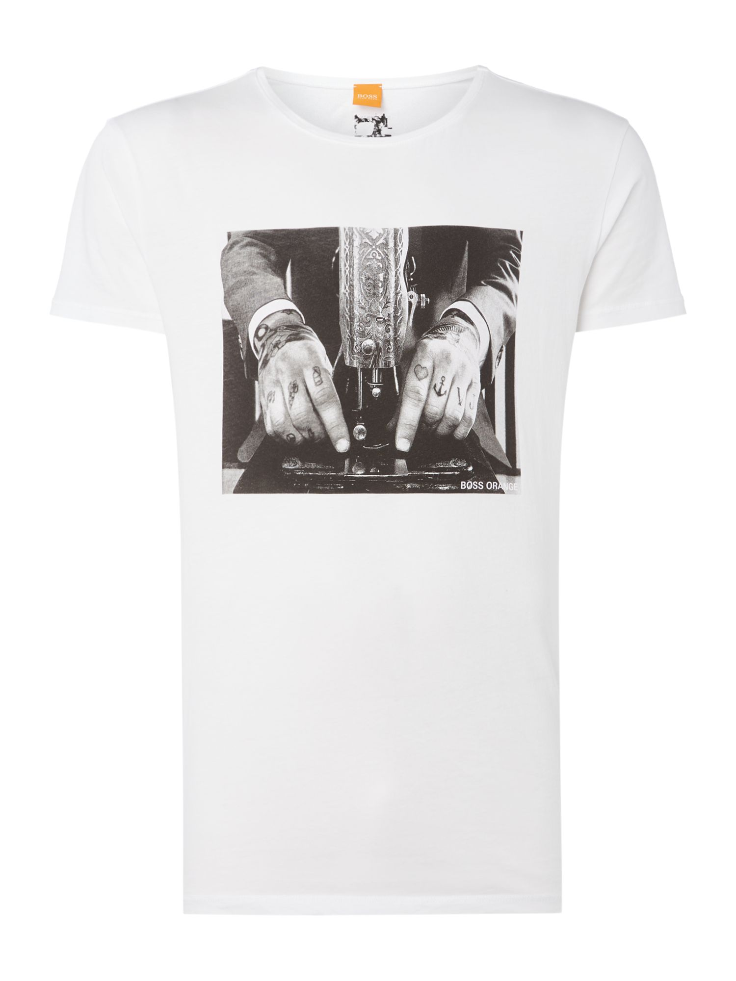 Men's Hugo Boss Taboo 3 tattoo graphic t-shirt, White