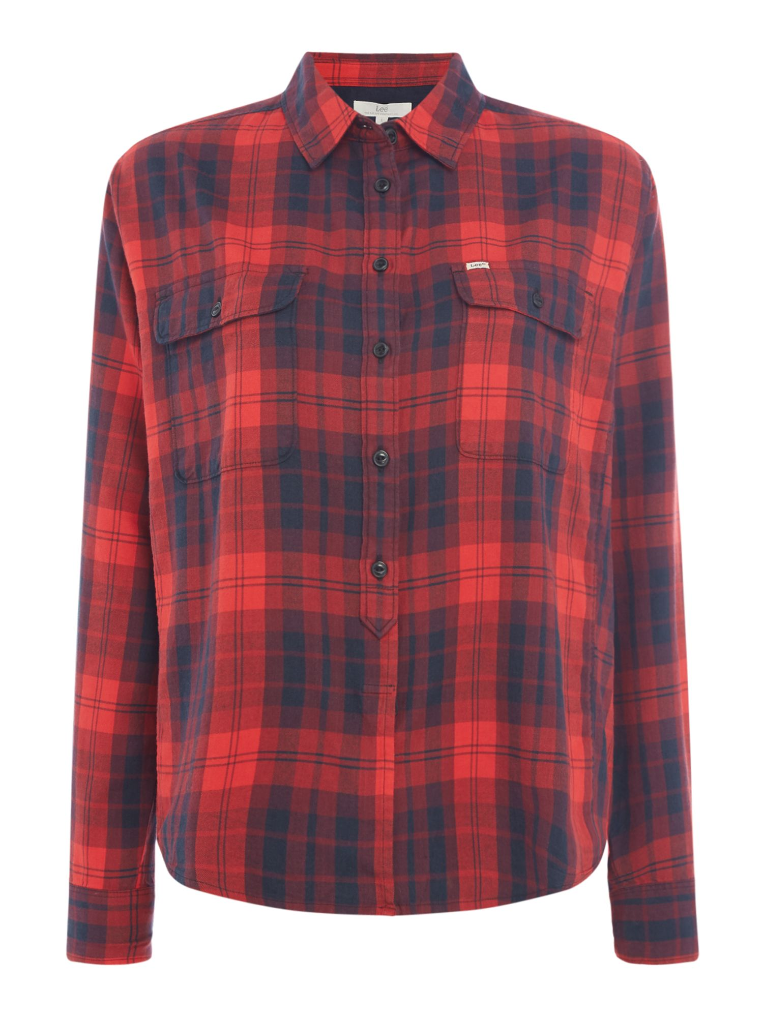Lee Long Sleeved Checked Shirt With Two Pockets, Red