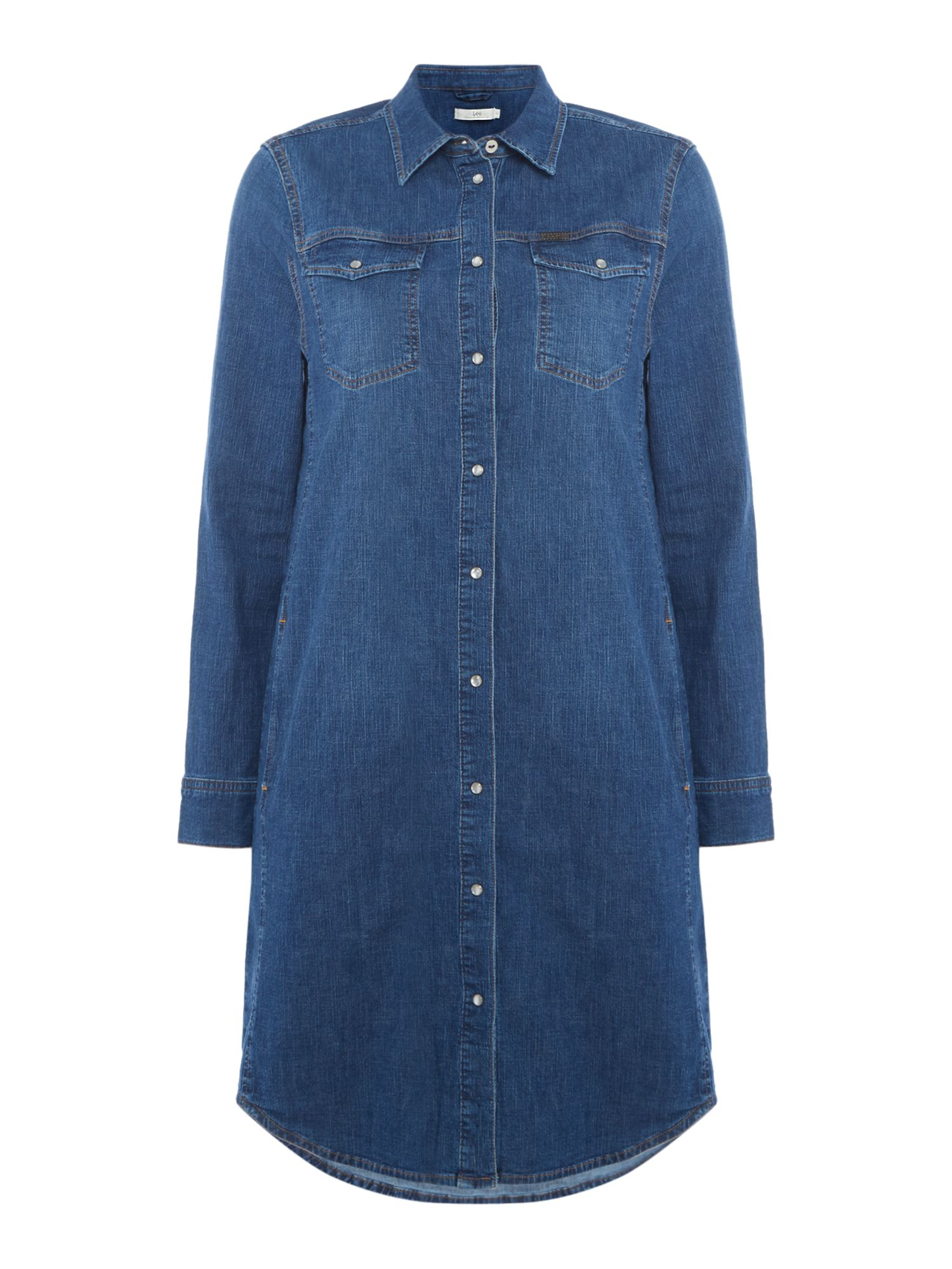 Lee Denim Shirt Dress In Mid Worn, Denim Mid Wash