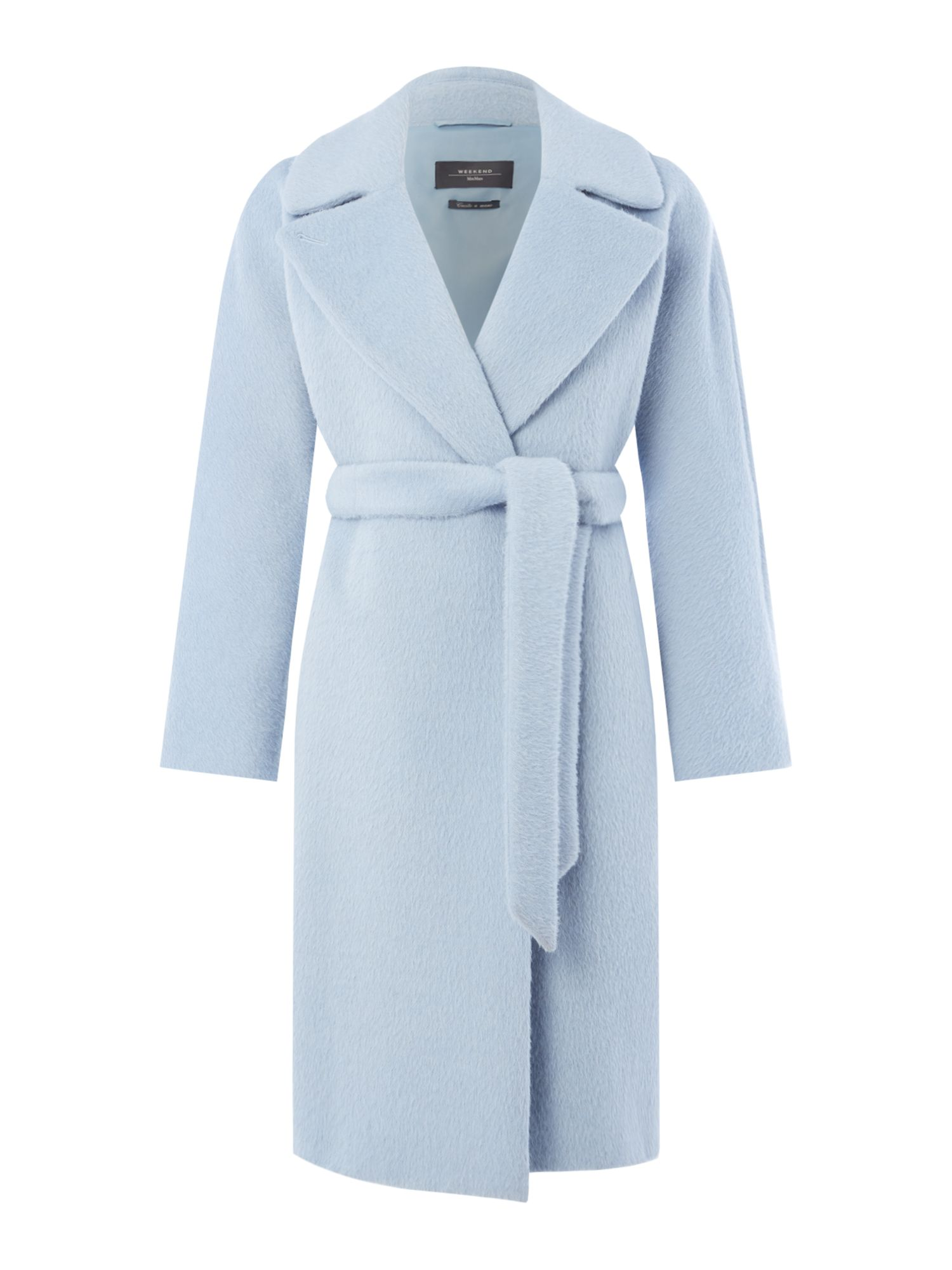 Max Mara Weekend Saletta tie waist wool coat, Light Blue