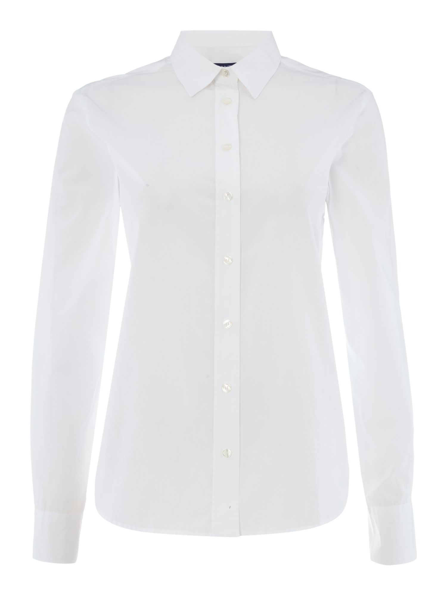 Gant Perfect Long Sleeved Shirt With Classic Collar, White