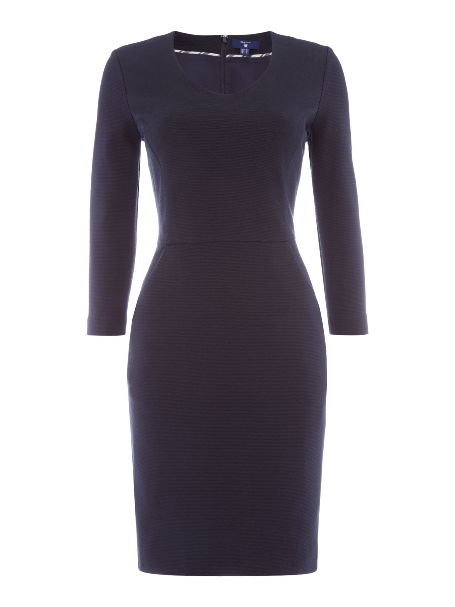 Gant Pique Stretch Tailored Dress With 3/4 Sleeves, Blue