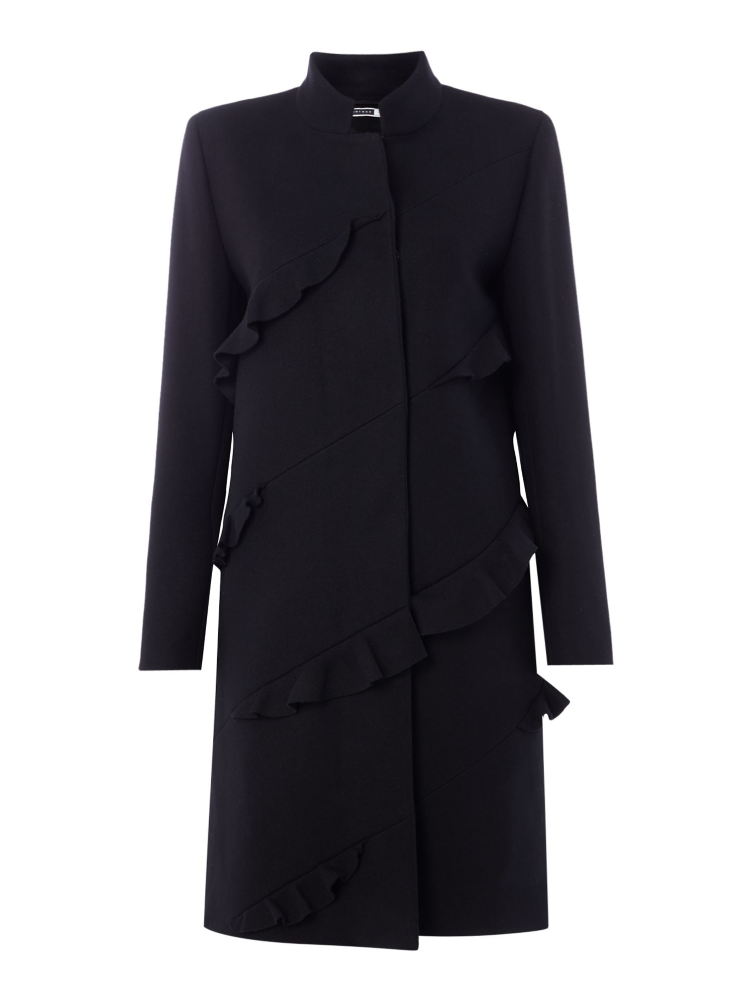 Sportmax Code Erik frill detail wool coat, Black