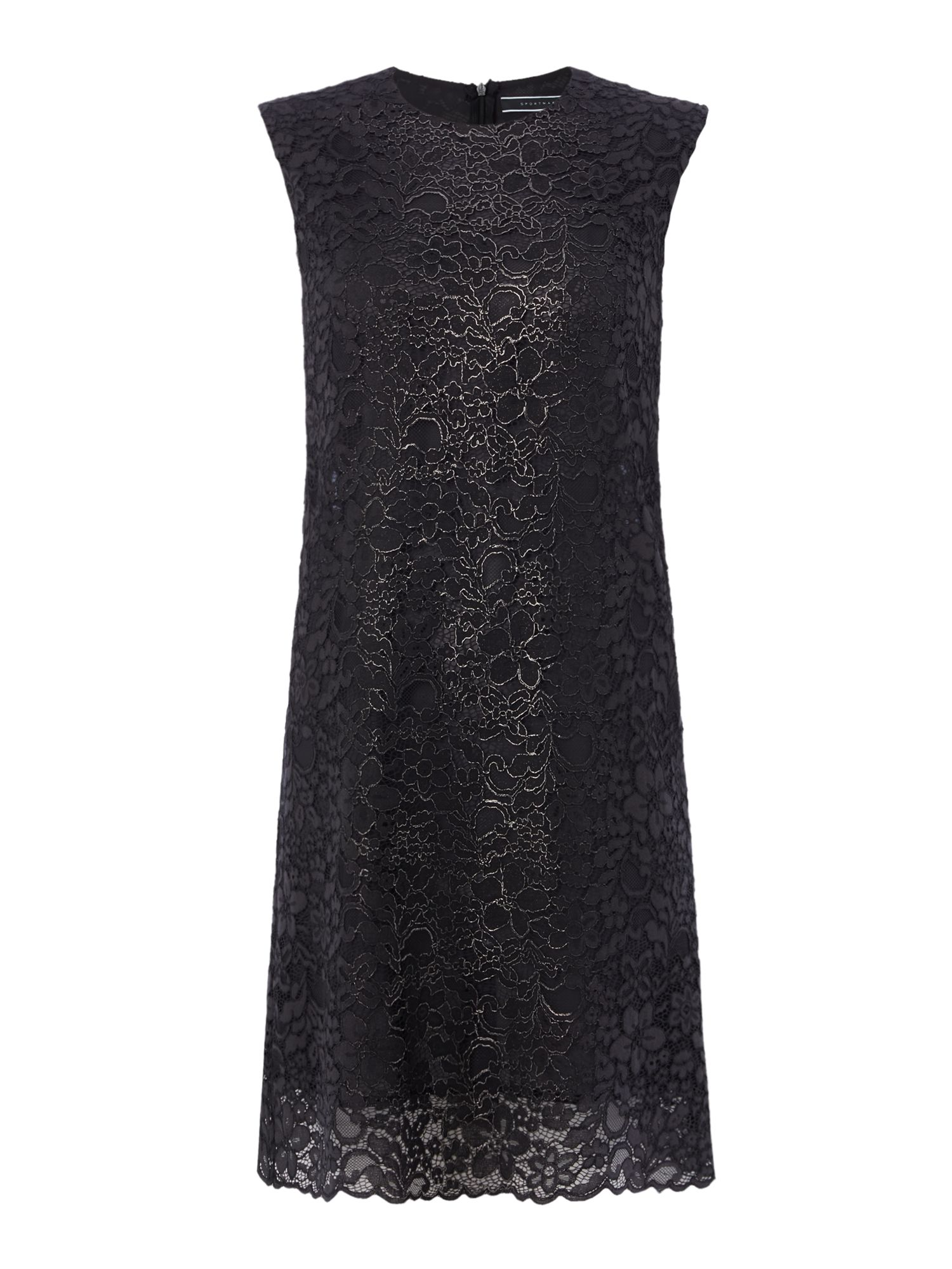 Sportmax Code Amiche metalic lace dress, Dark Grey