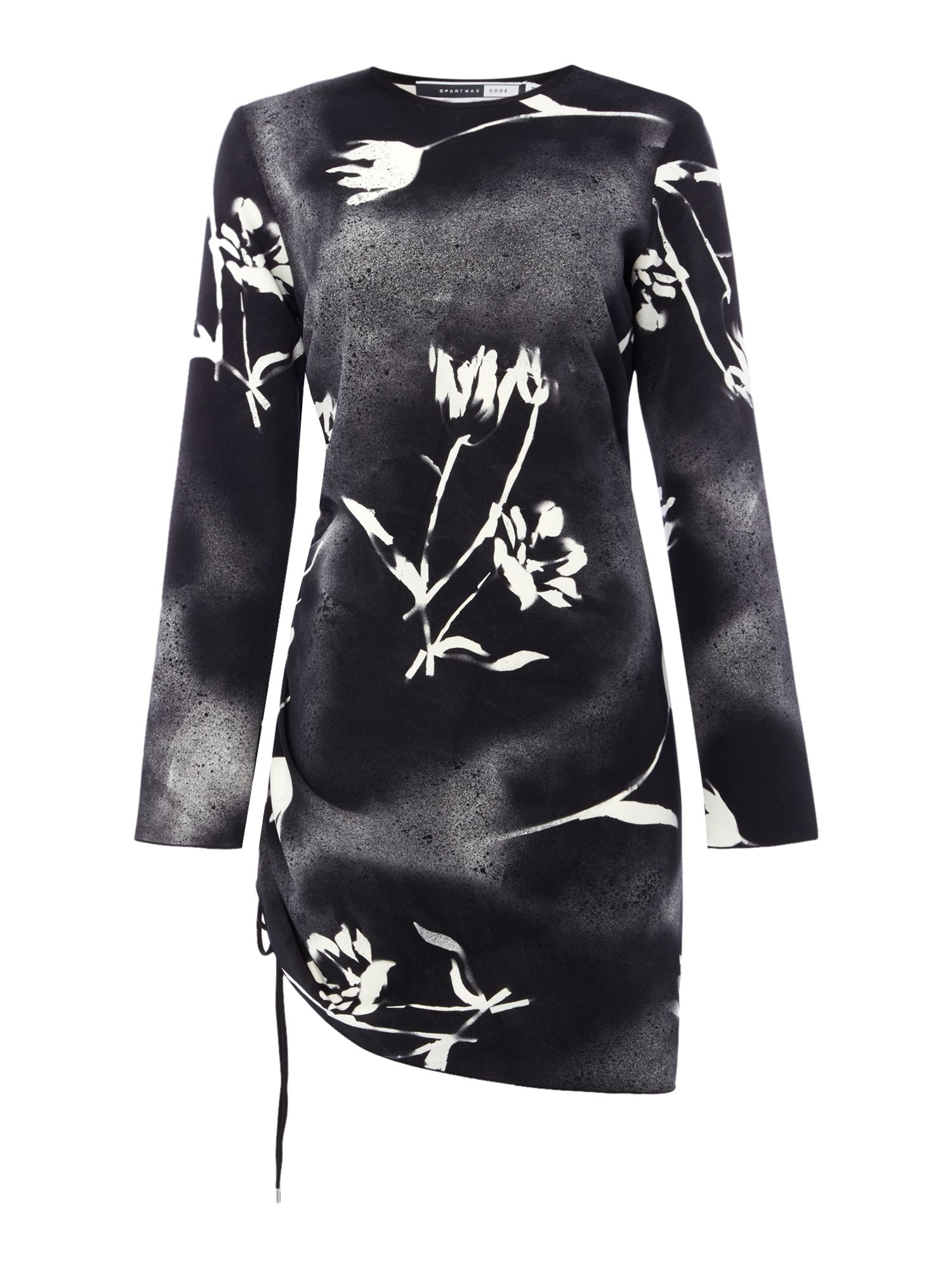 Sportmax Code Faraone graffiti floral dress with ruching, Black