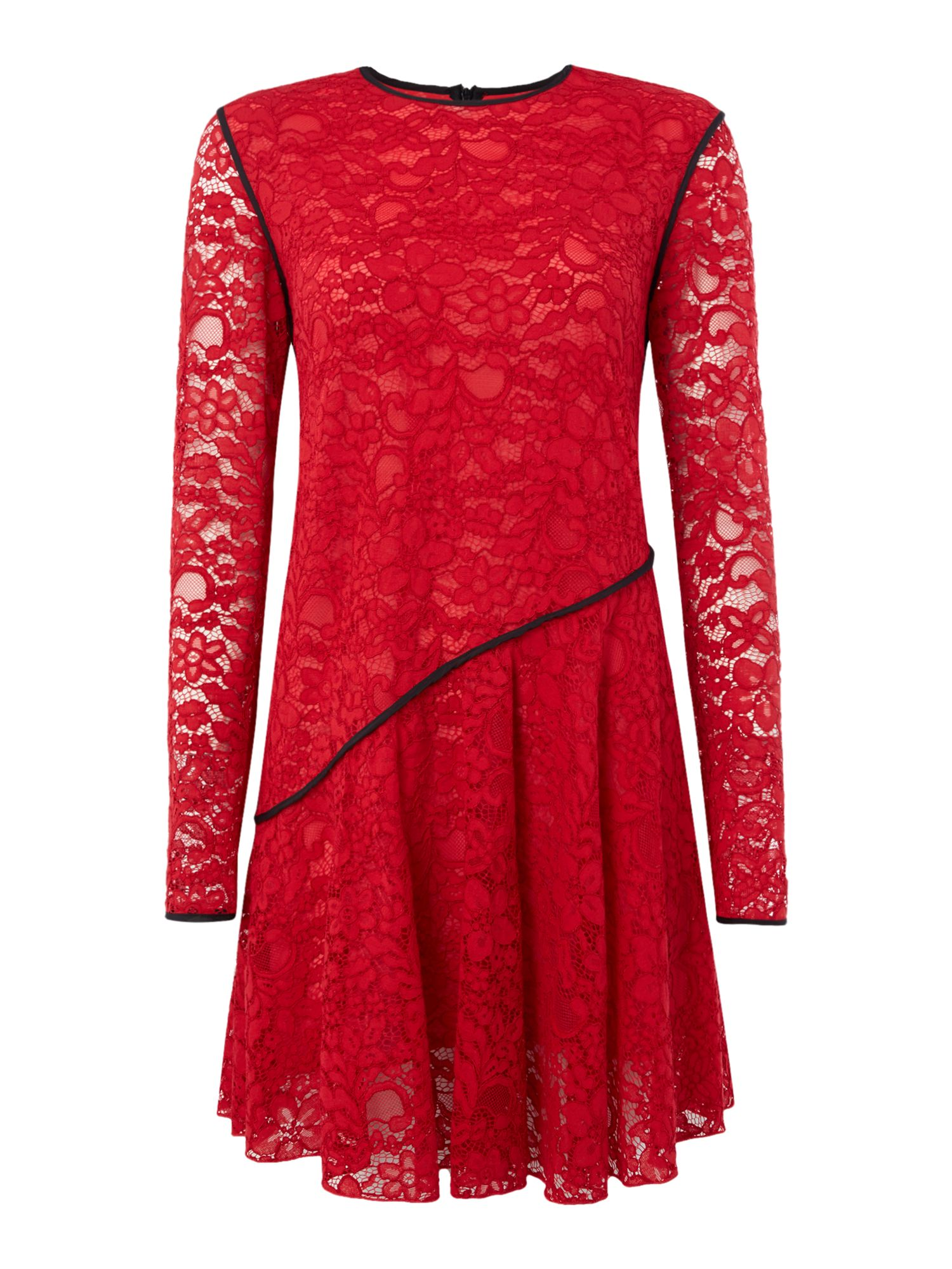 Sportmax Code Bosforo lace dress with contrast piping detail, Red