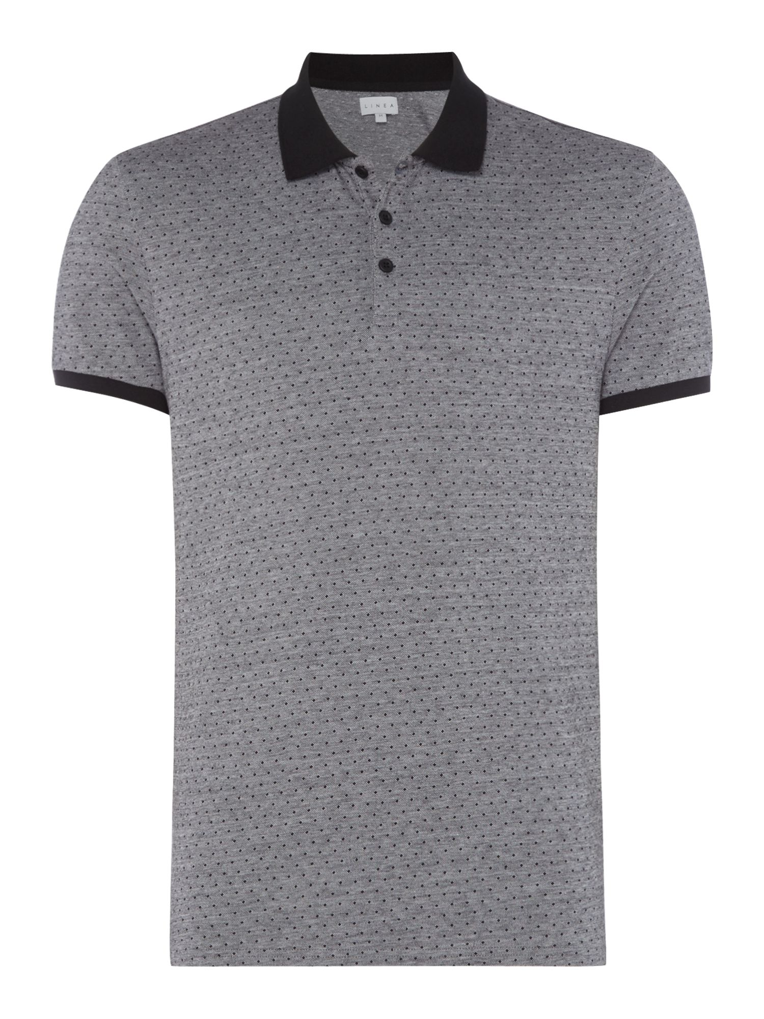Men's Linea City Mercerised Spot Jaquard Polo, Black