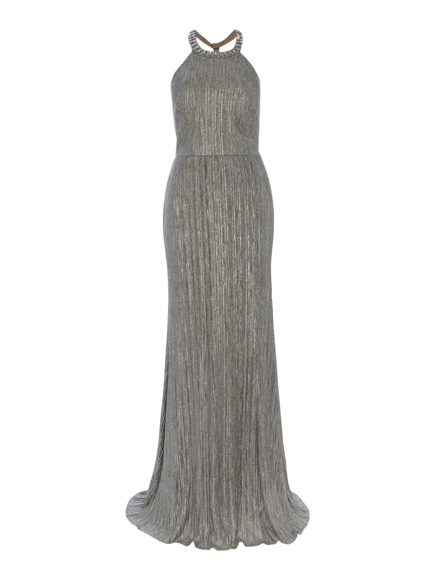 Adrianna Papell Backless Jewelled Metallic Long Gown, Silver