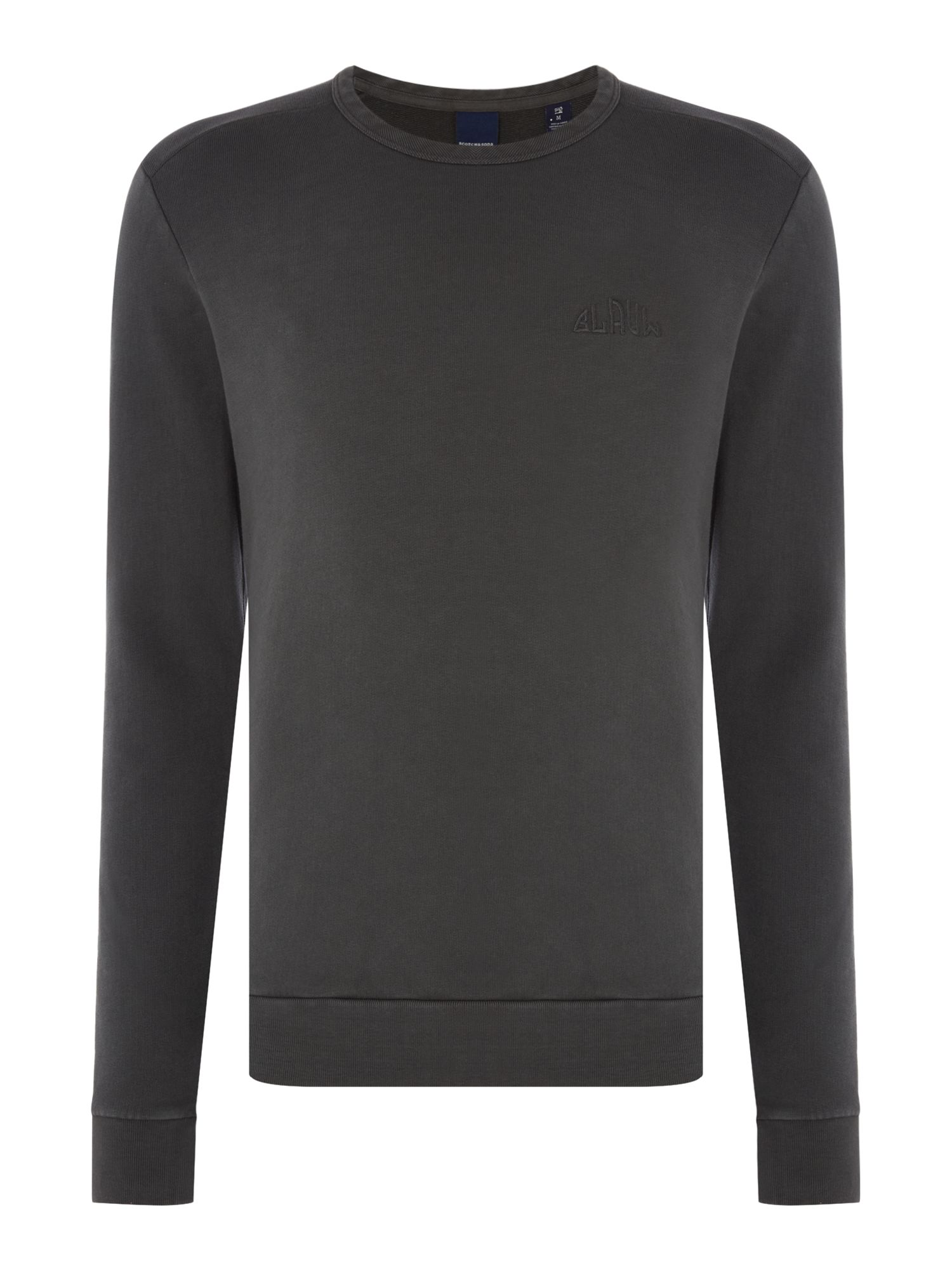 Men's Scotch & Soda Garment Dyed Sweatshirt, Black
