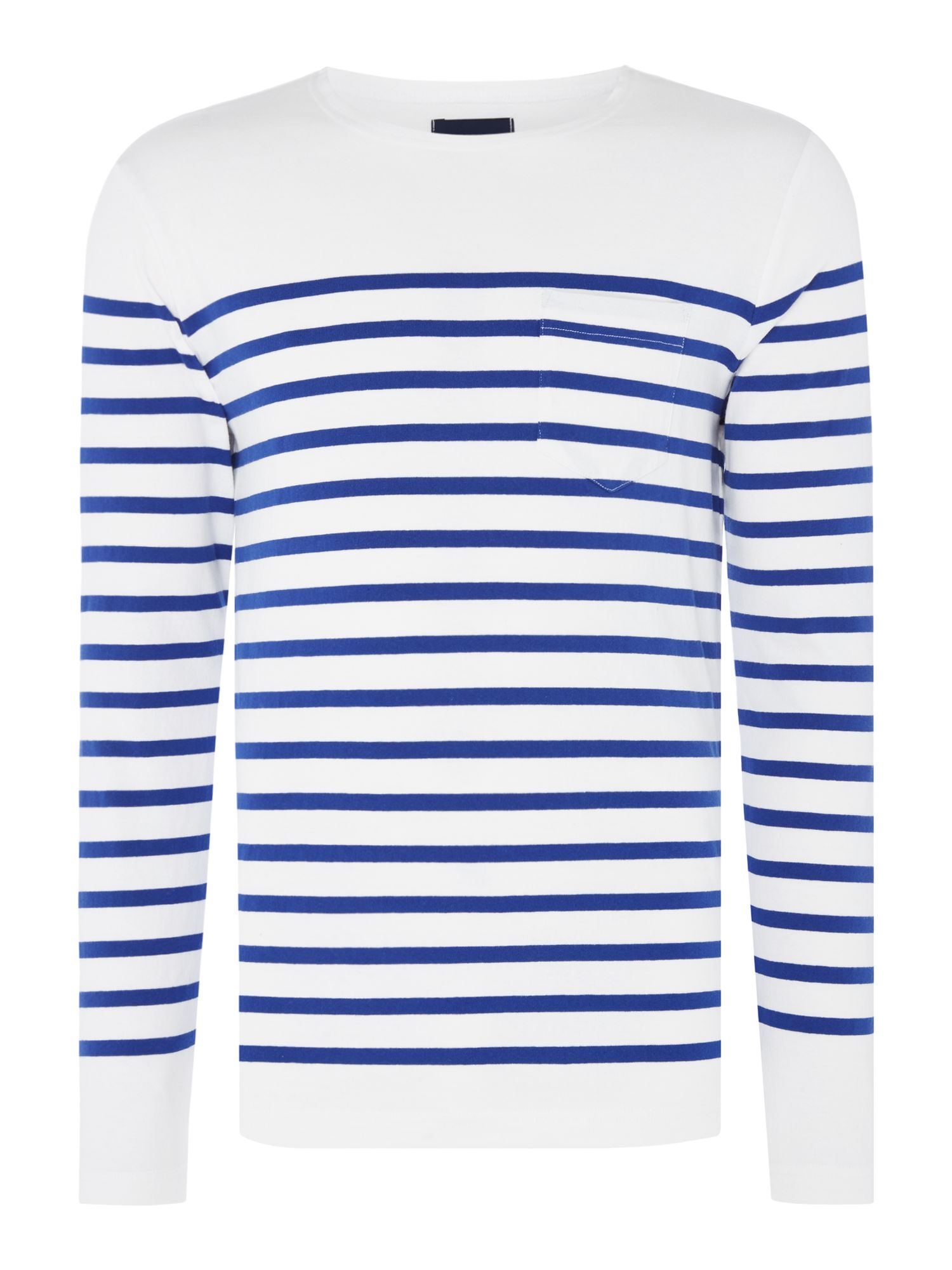 Men's Scotch & Soda Engineered Breton Stripe Sweatshirt, White