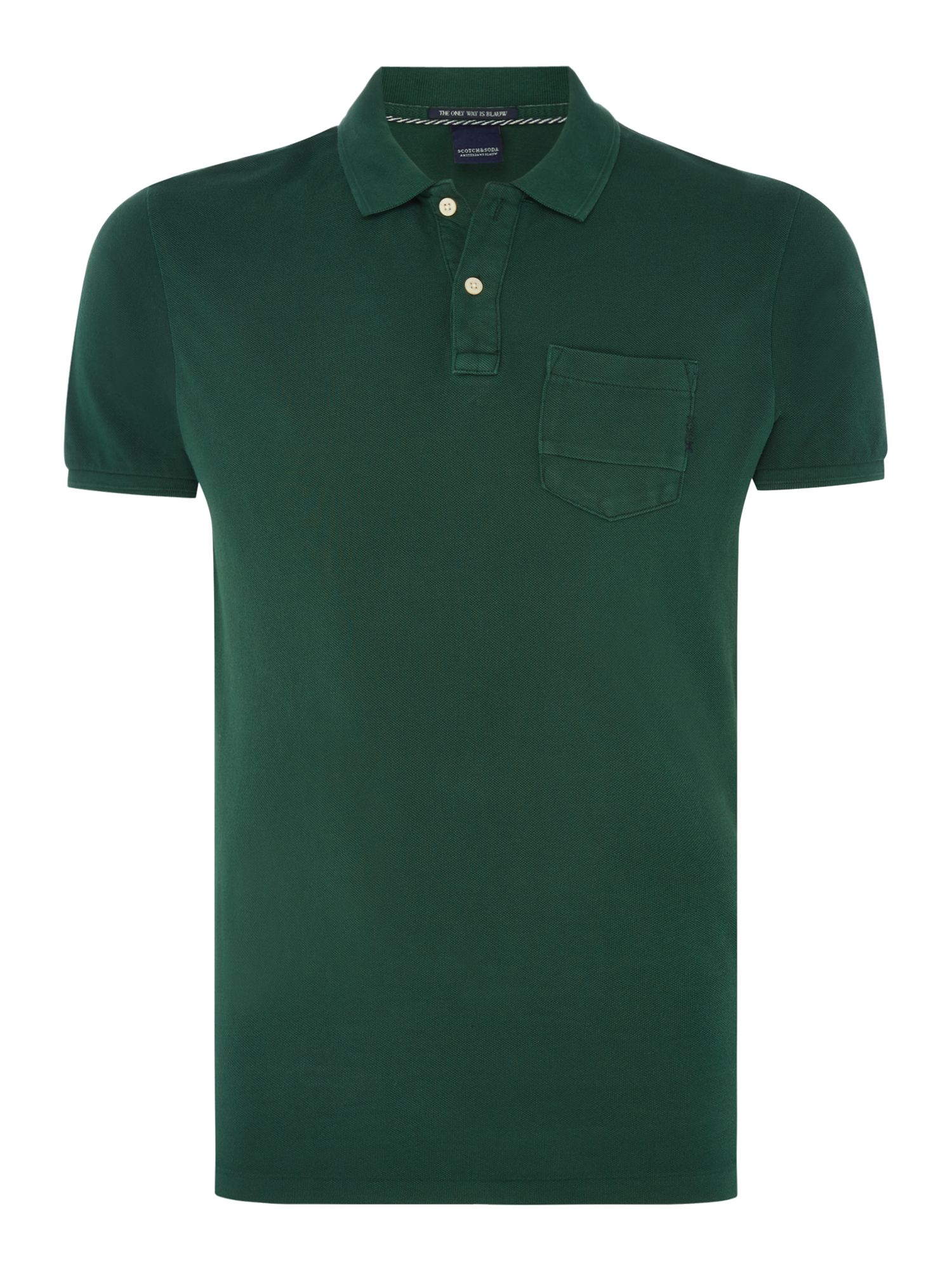 Men's Scotch & Soda Garment Dyed Polo with XXX, Pastel Green
