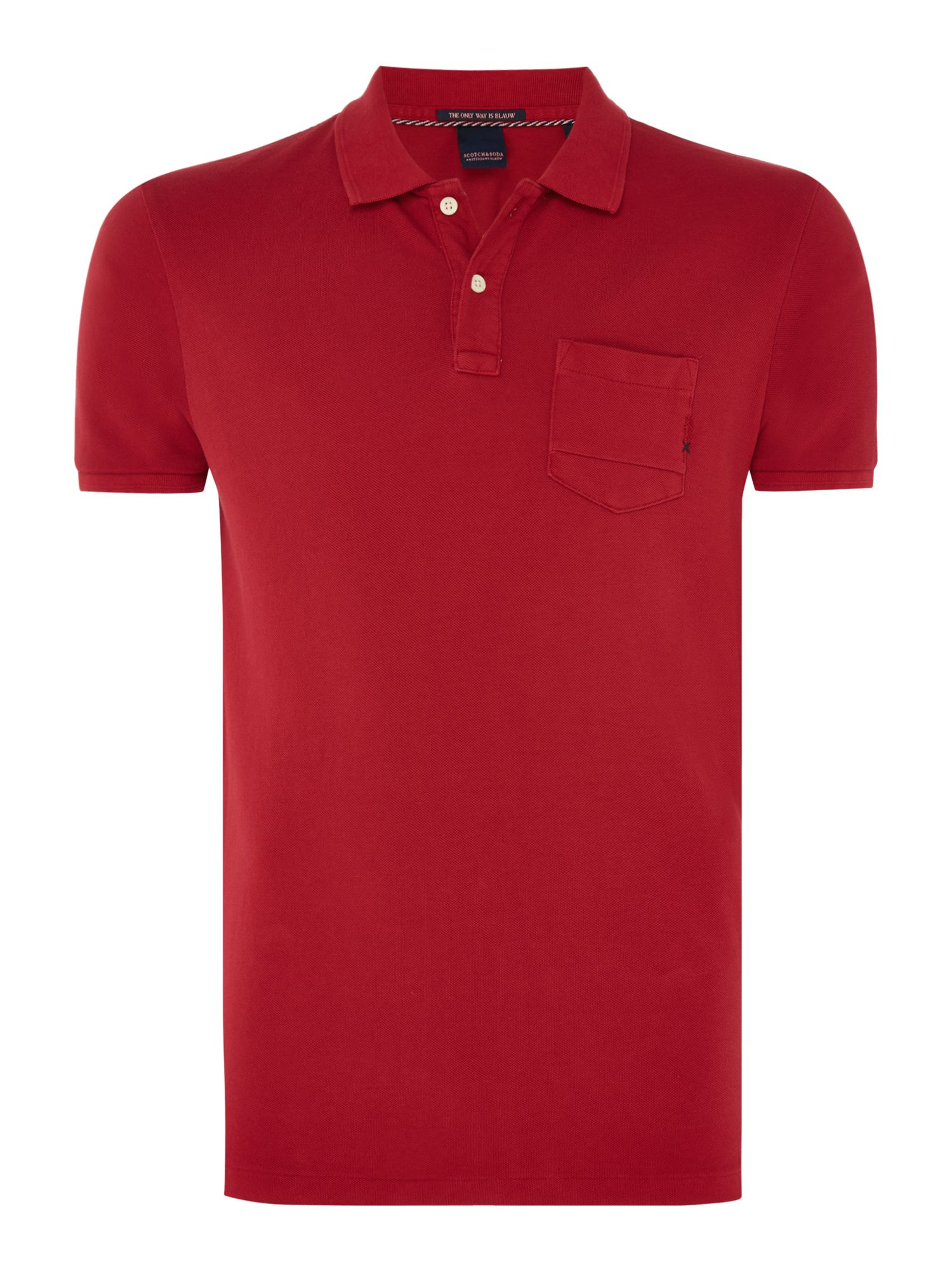 Men's Scotch & Soda Garment Dyed Polo with XXX, Red