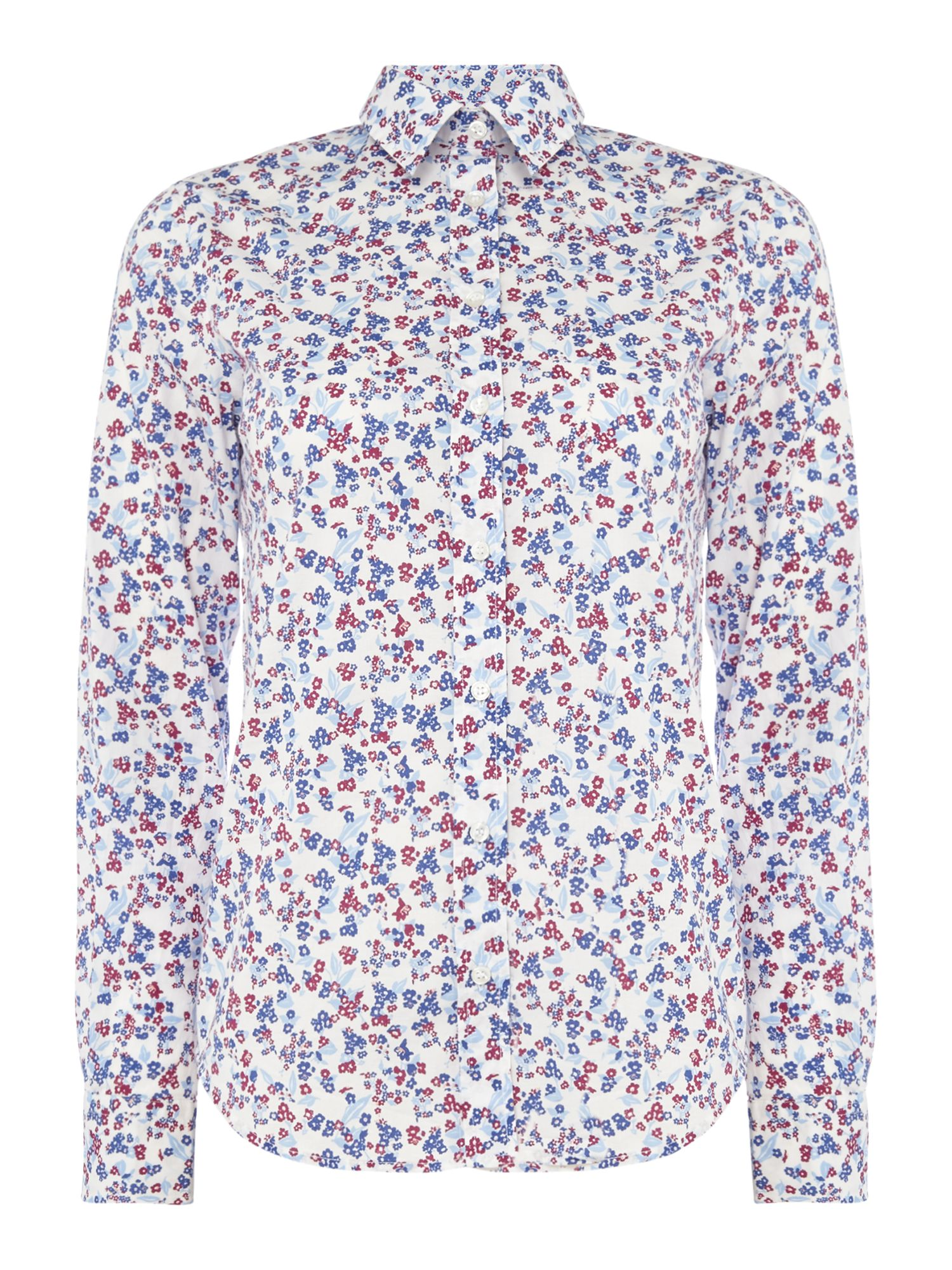 Gant Mini Floral Shirt In Stretch Broadcloth, White