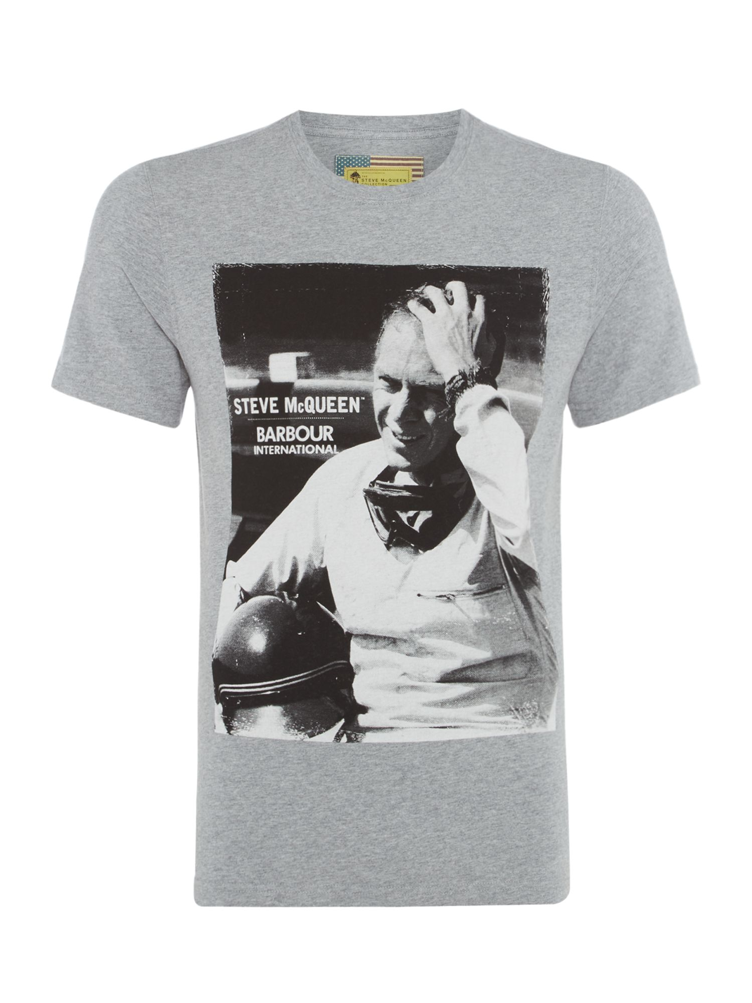 Men's Barbour Black and white steve close up photo tshirt, Grey Marl