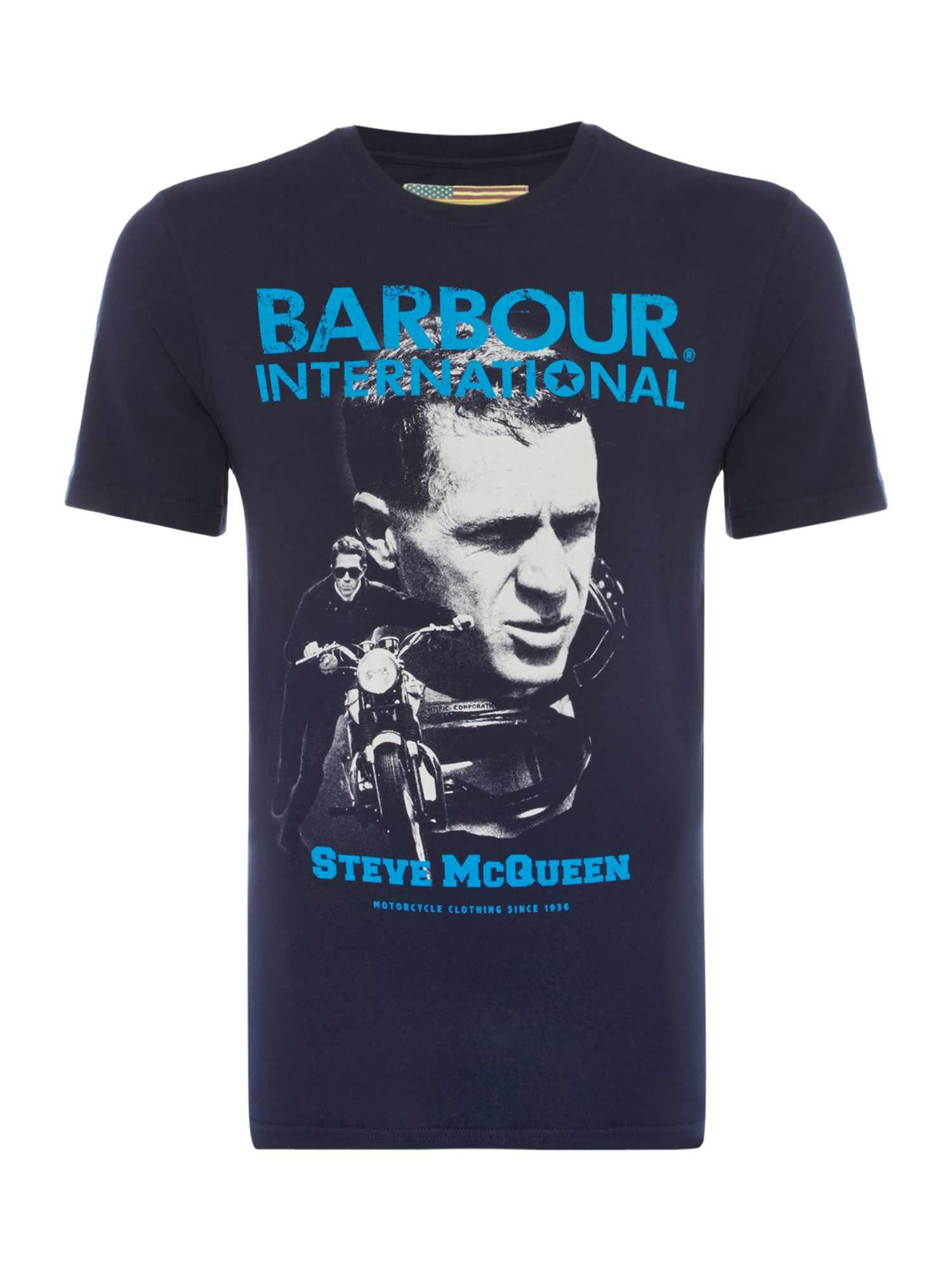 Men's Barbour Big face barbour starting line T-Shirt, Blue