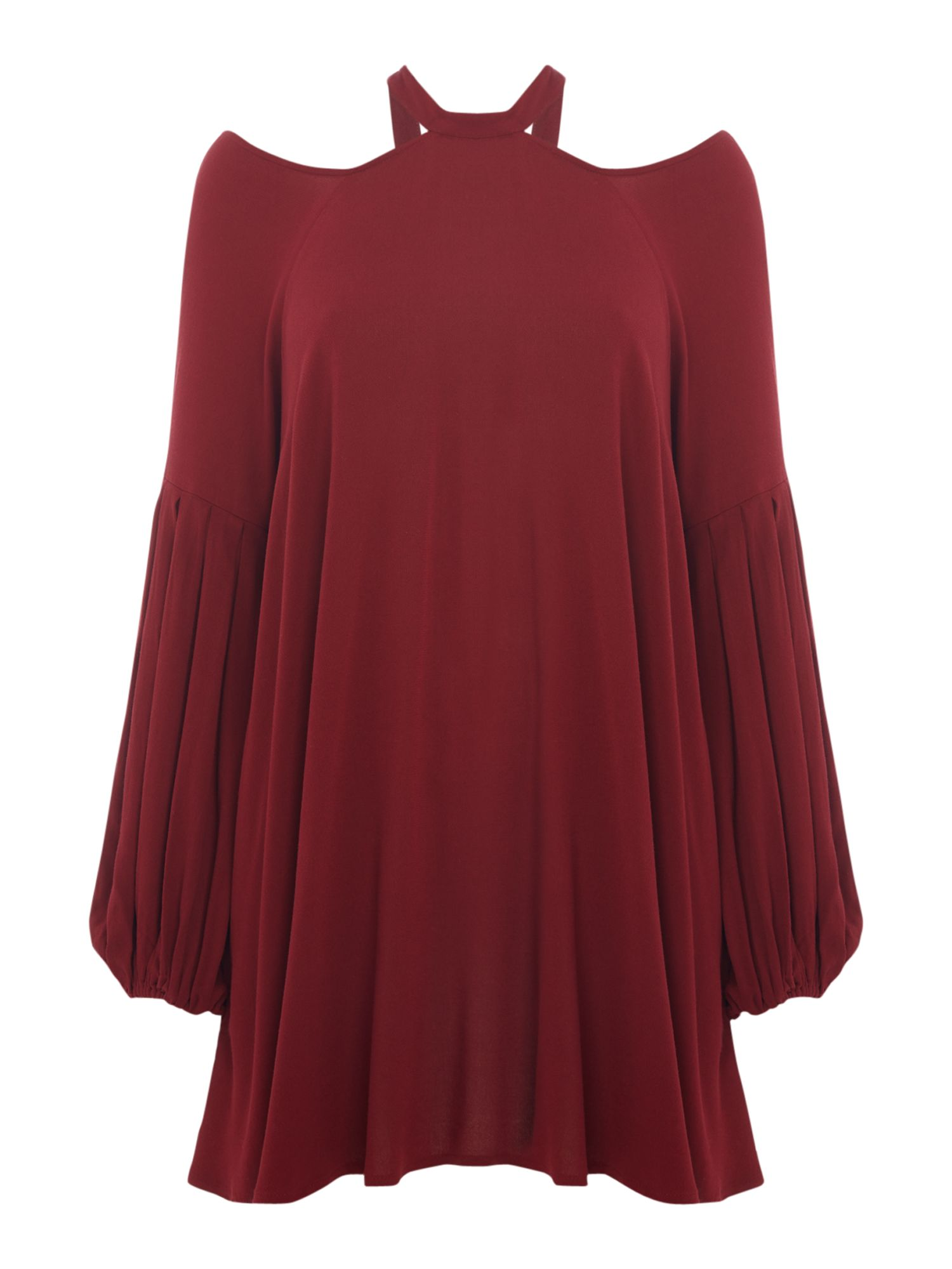 Free People Drift Away Long Line Top With Cut Out Shoulders, Red