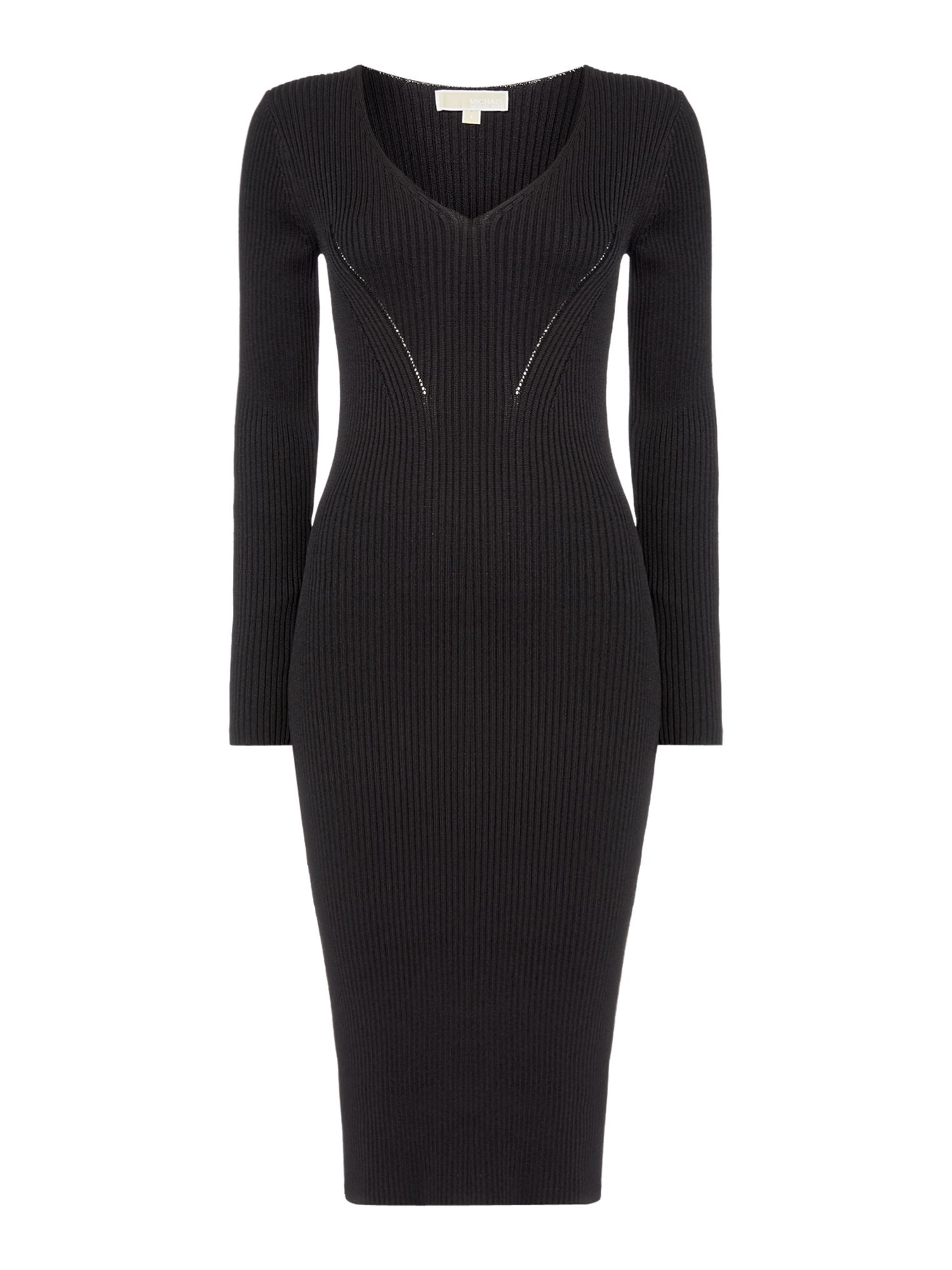 Michael Kors V neck rib sweater dress, Black