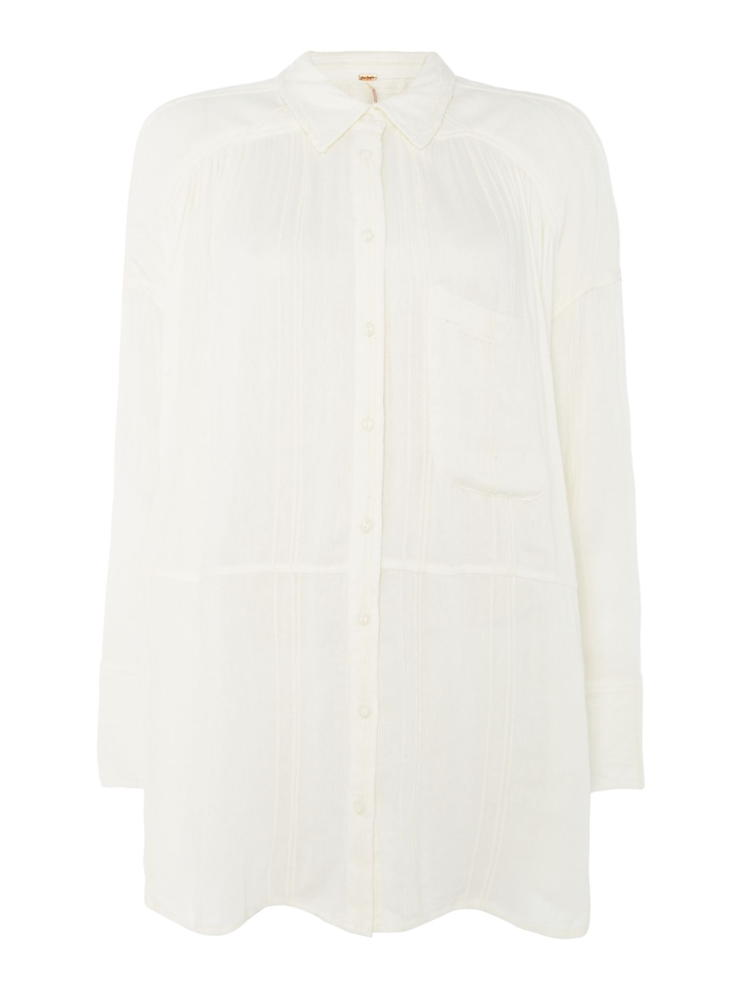 Free People Cozy Nights Shirt With Dip Hem, White