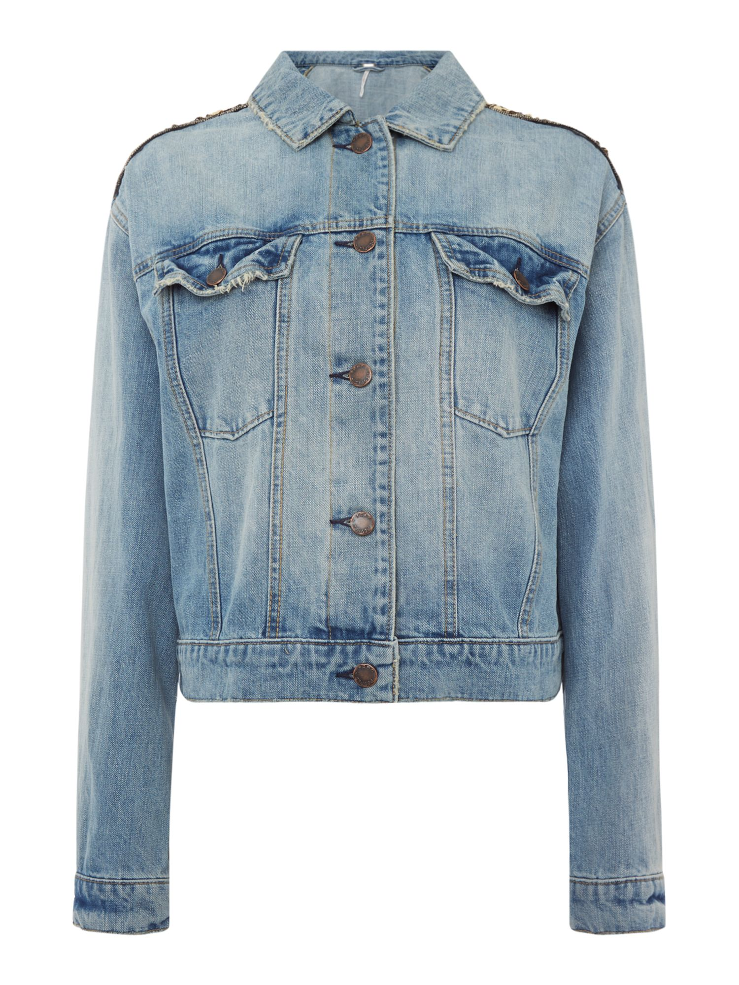 Free People Glam Embellished Denim Jacket, Denim Mid Wash