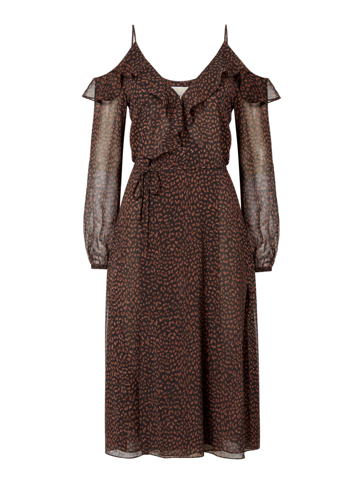 Michael Kors Cheetah wrap dress, Brown