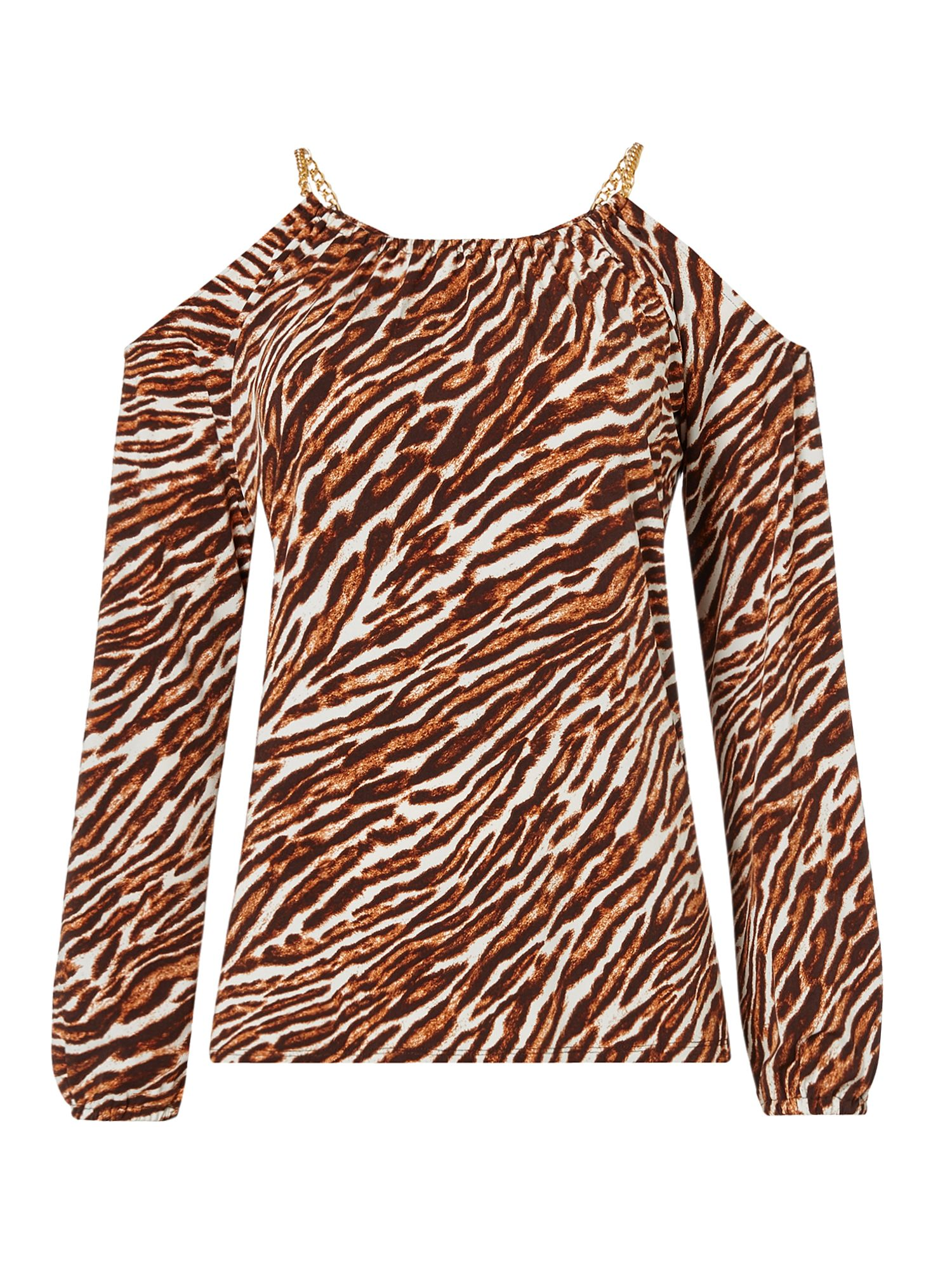 Michael Kors Exclusive safari cold shoulder top, Brown