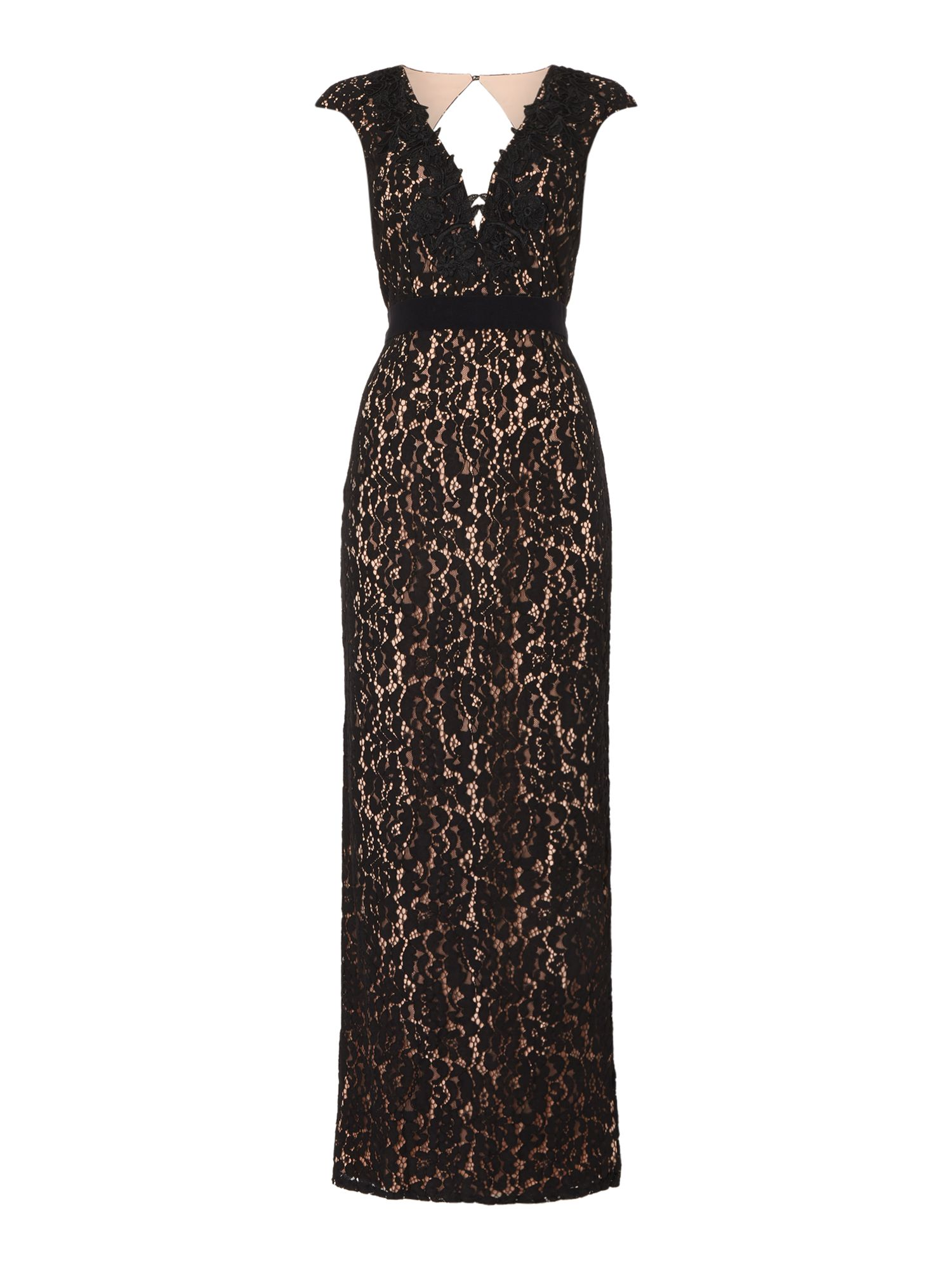 Little Mistress Sleeveless plunge neck with contrast lace dress, Black