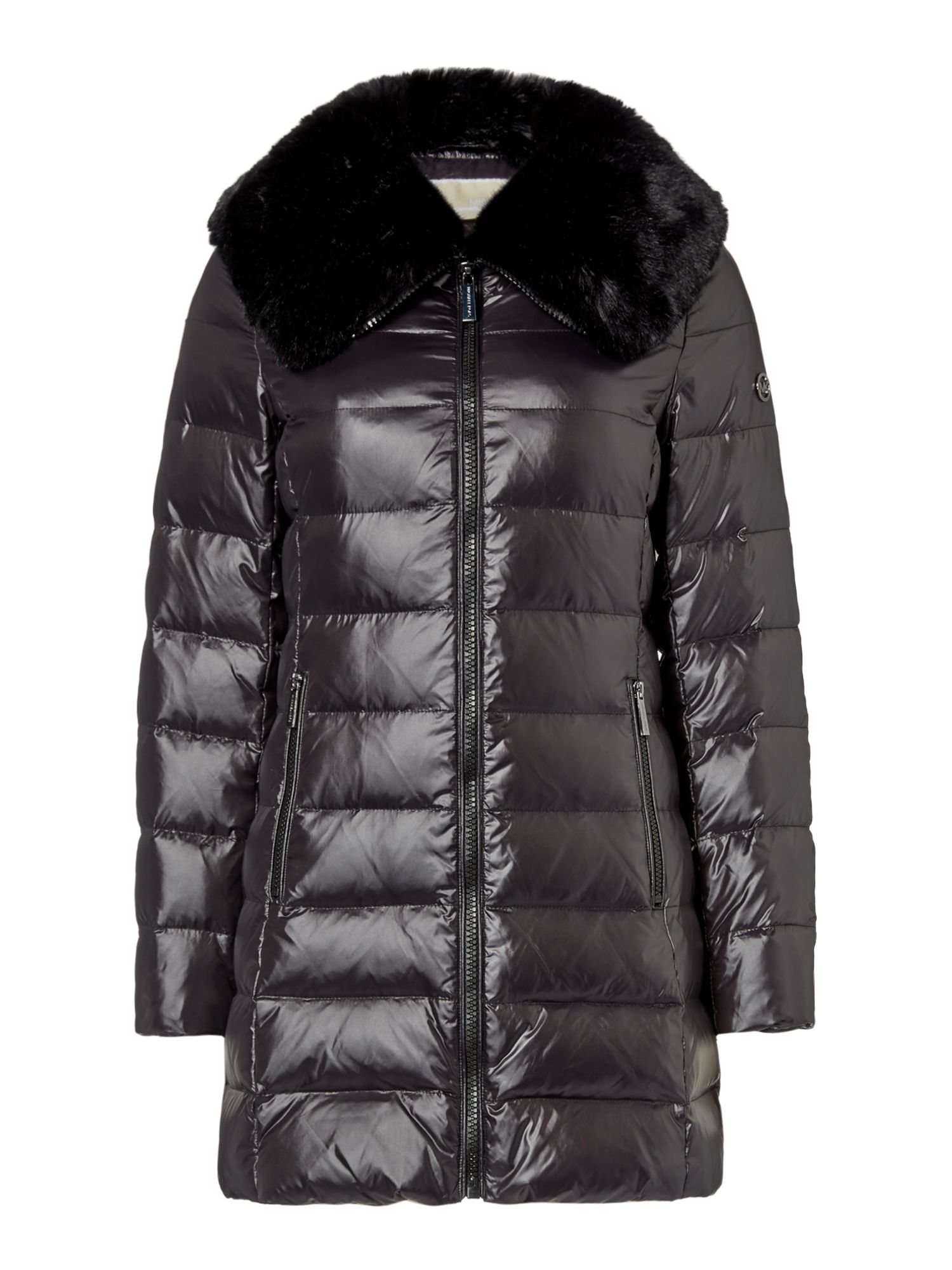 Michael Kors Medium length faux fur detail puffer jacket, Black
