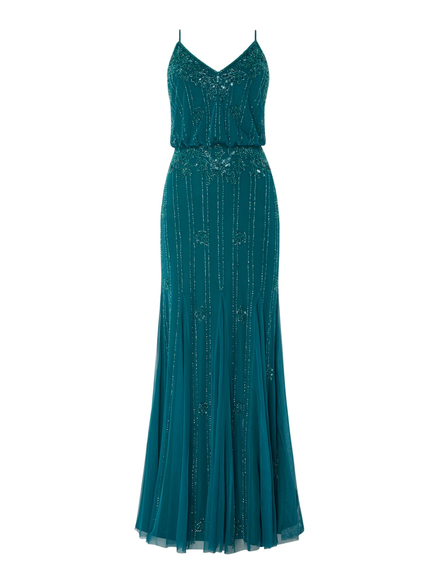 Lace and Beads blouson embellished maxi dress, Green