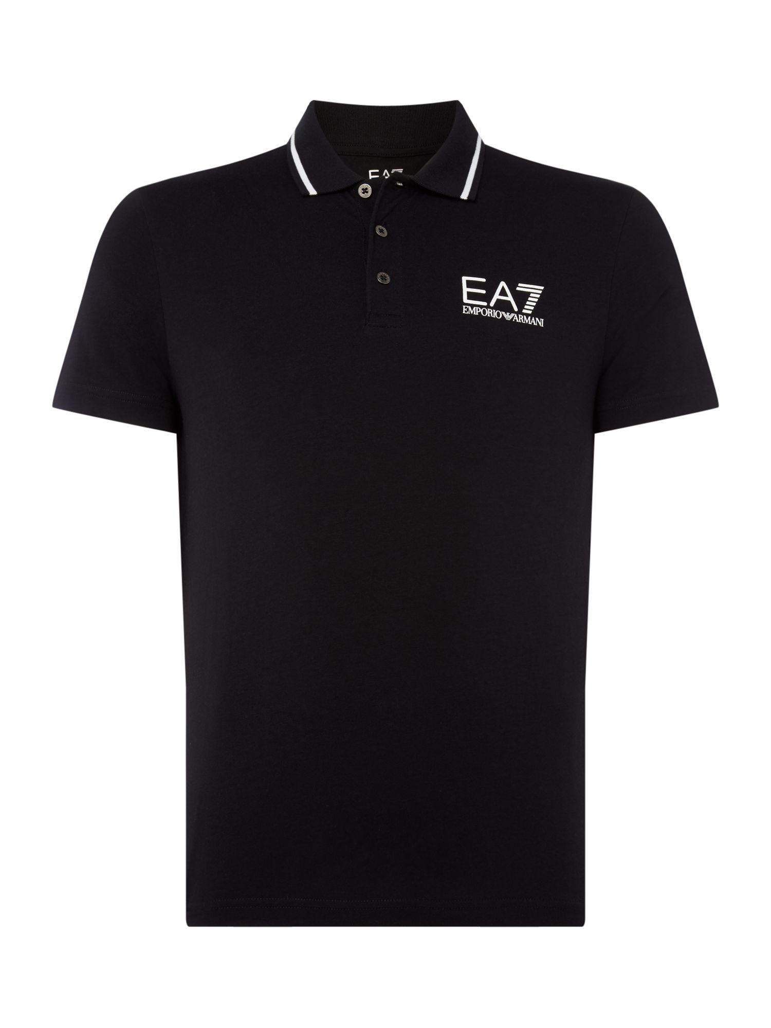 Men's EA7 Short sleeve core ID stop stretch polo, Black