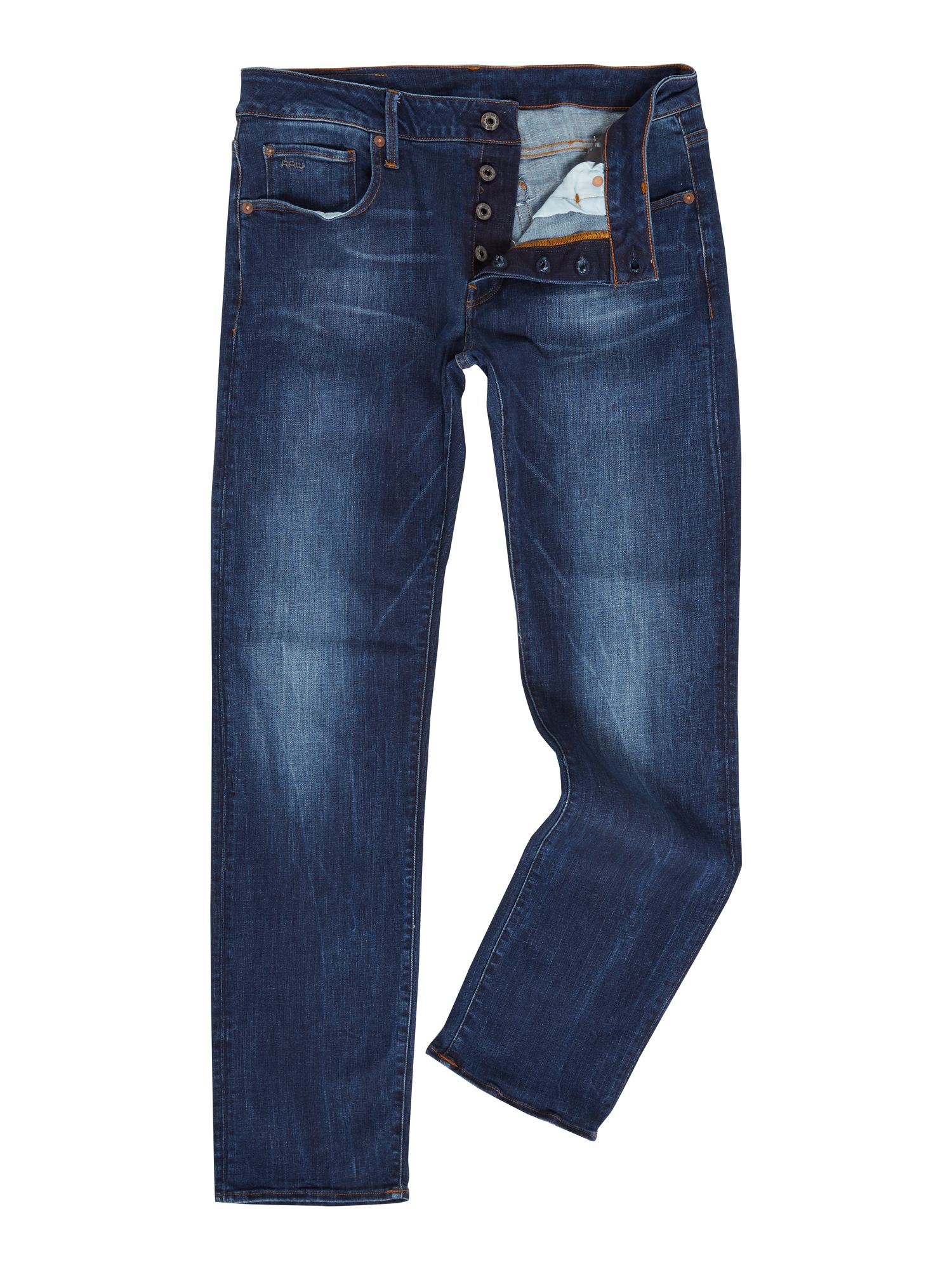 Mens G-star 3301 Straight Trender Ultimate Stretch Jeans, Denim Mid Wash
