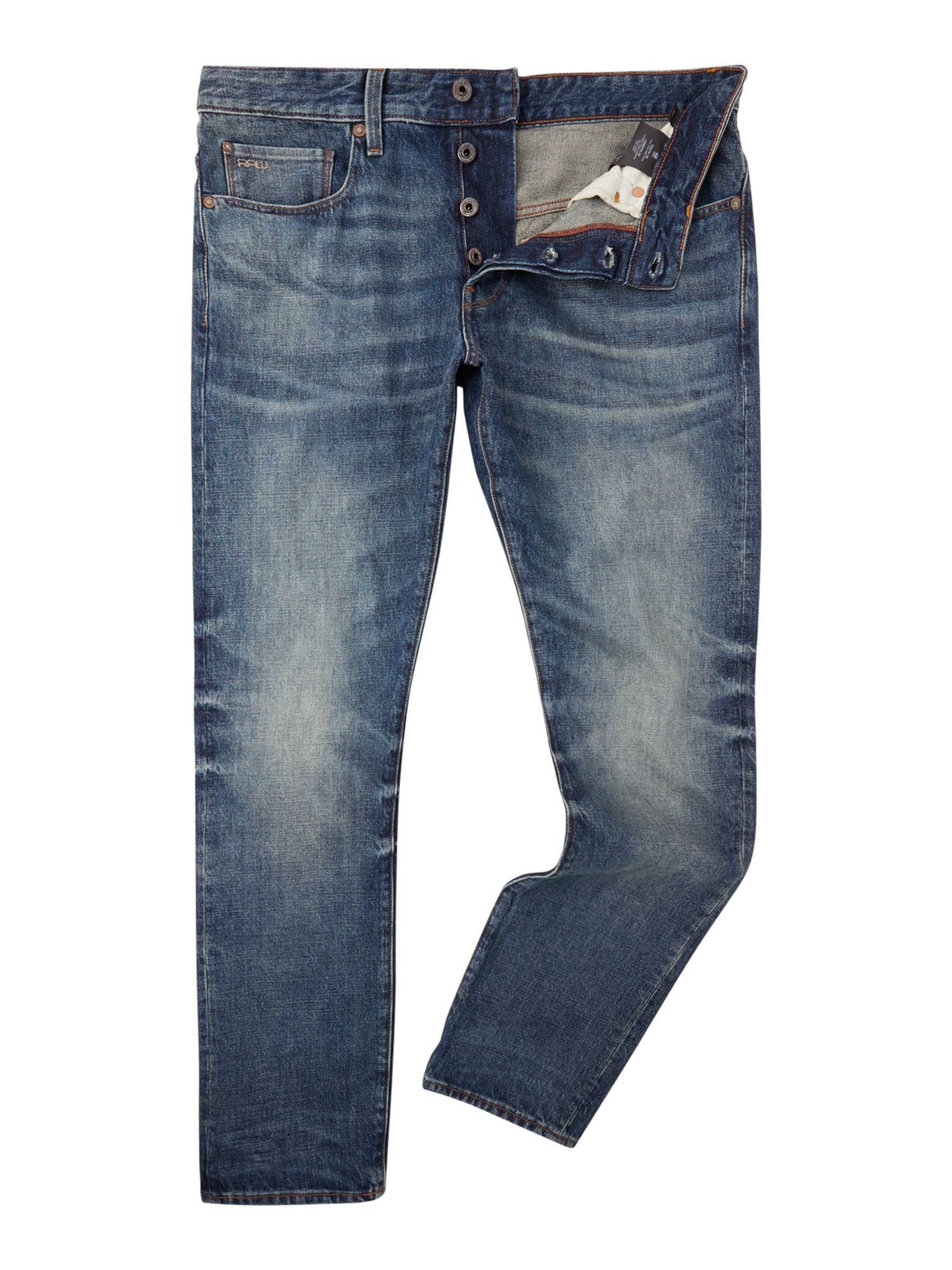 Mens G-star 3301 Tapered Herf Denim Jeans, Denim Mid Wash
