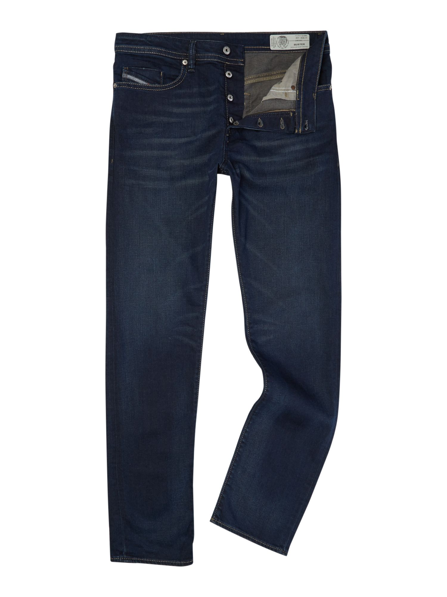 Mens Buster 857z Tapered Fit Jeans, Denim Rinse