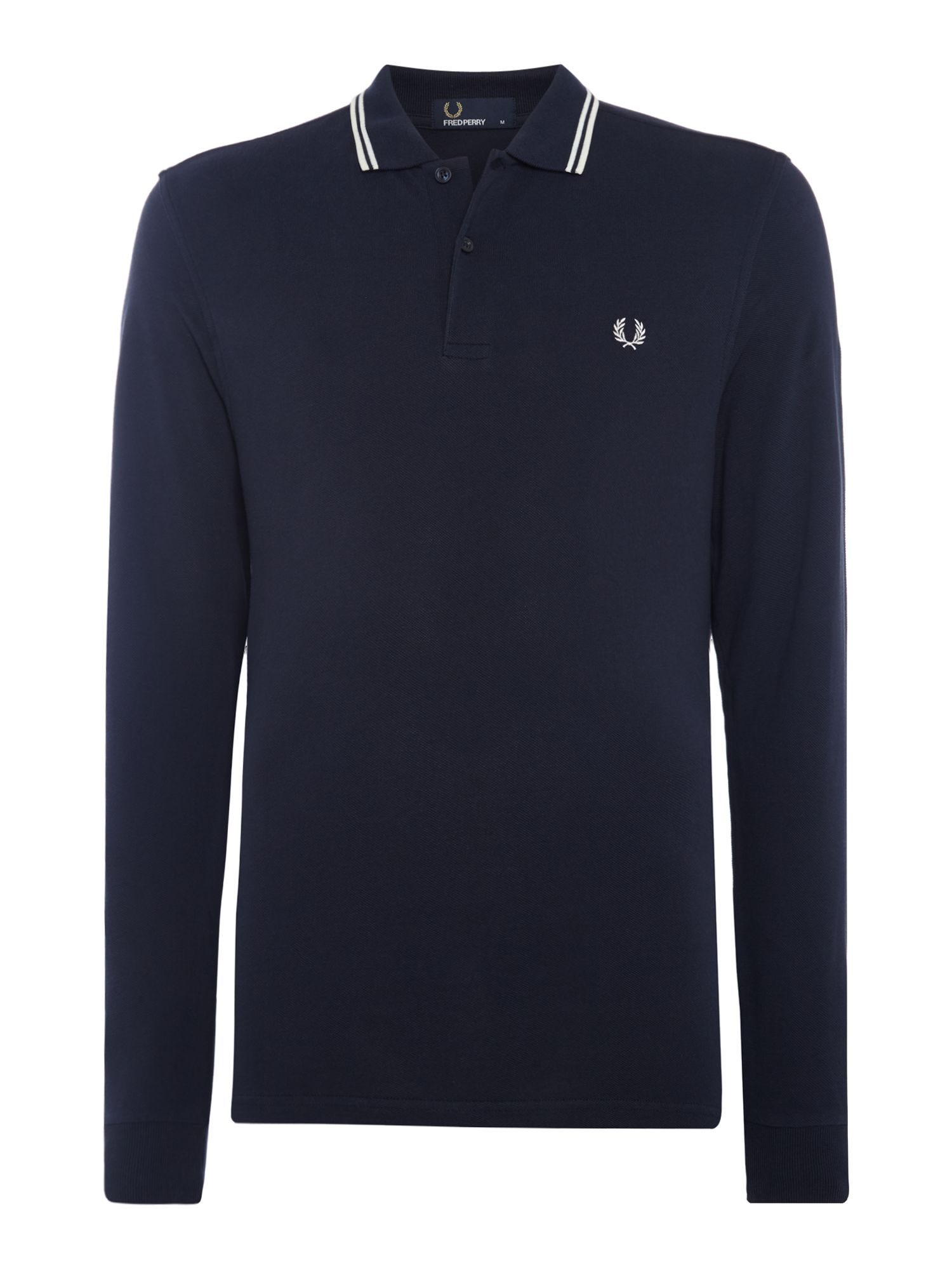 Men's Fred Perry Long Sleeve Twin Tipped Polo, Blue