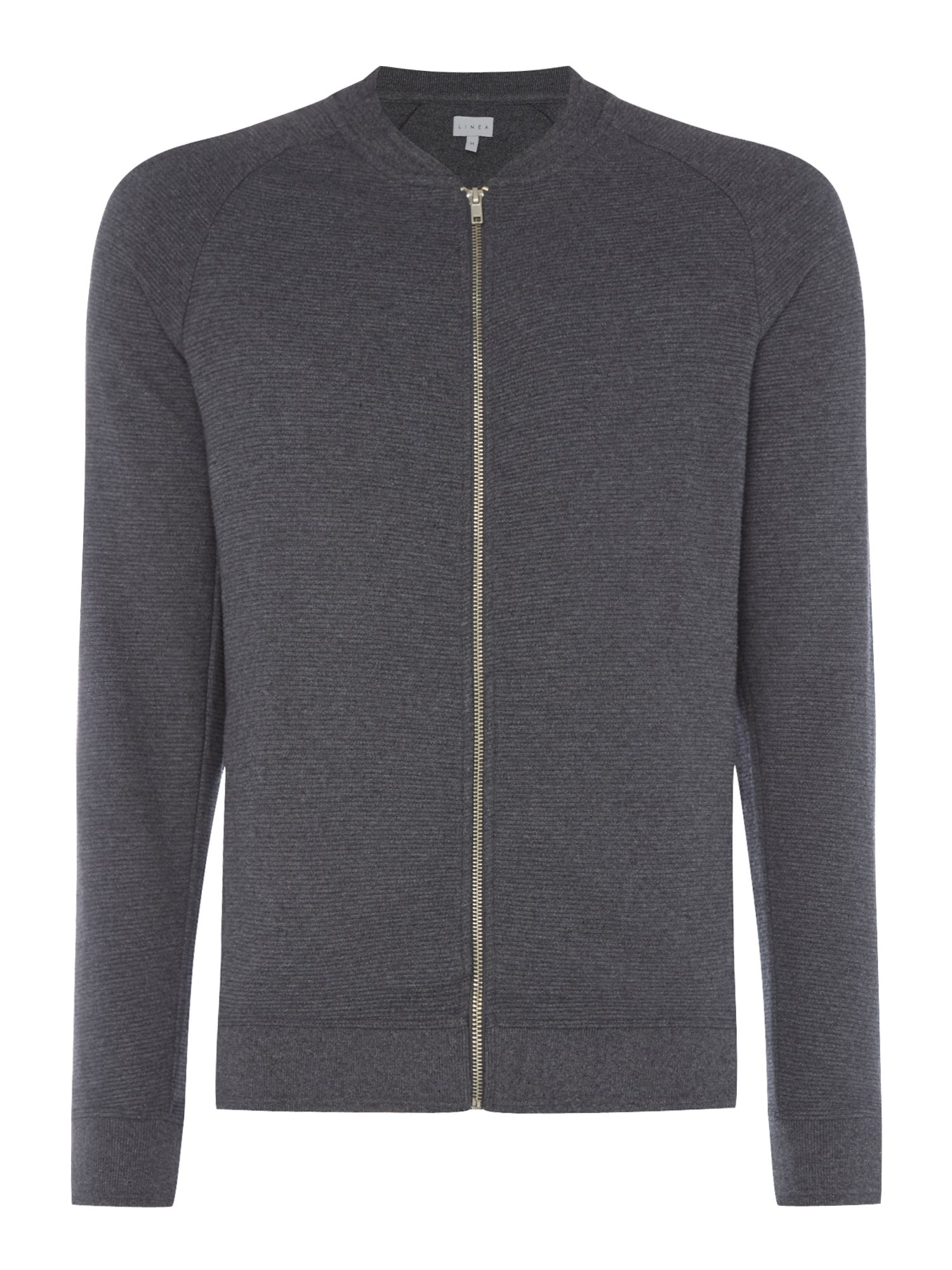 Men's Linea Woodford Zip-Through Ribbed Bomber Jacket, Charcoal