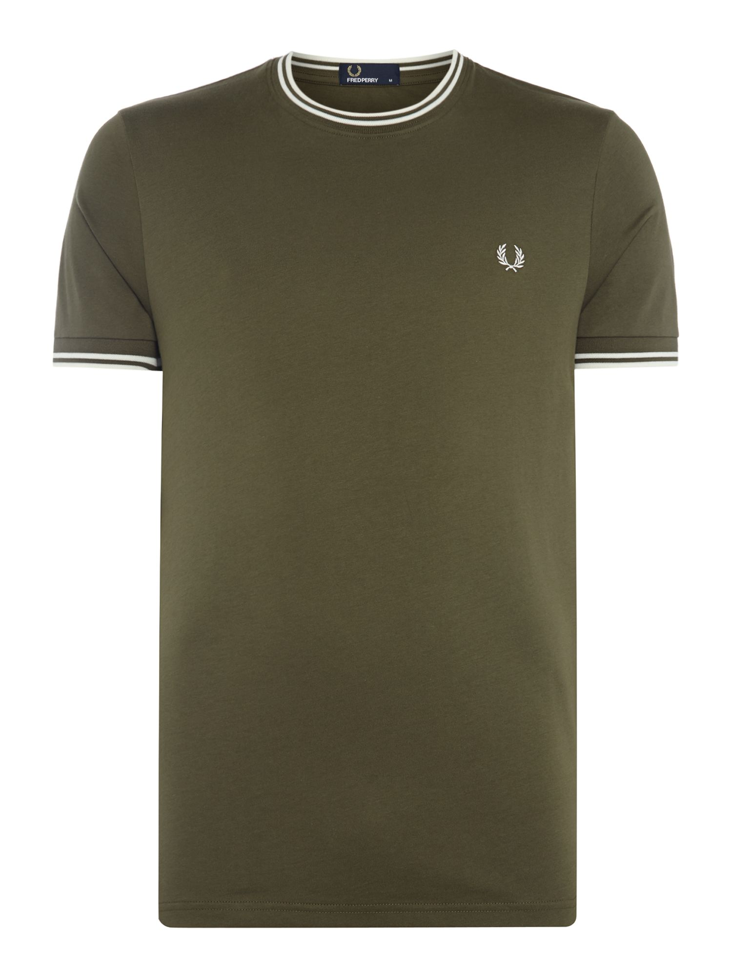 Men's Fred Perry Crew neck twin tipped collar t-shirt, Ivy